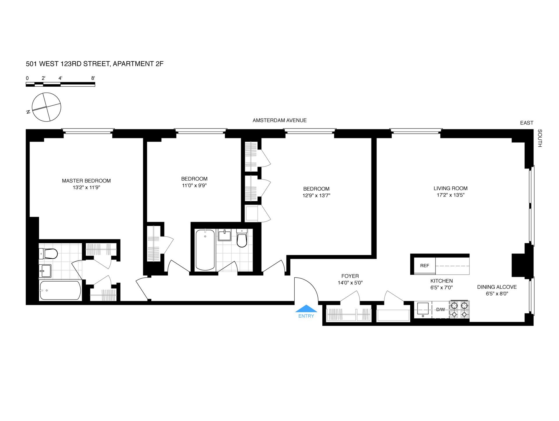 Floor plan of Morningside Gardens, 501 West 123rd Street, 2F - Morningside Heights, New York