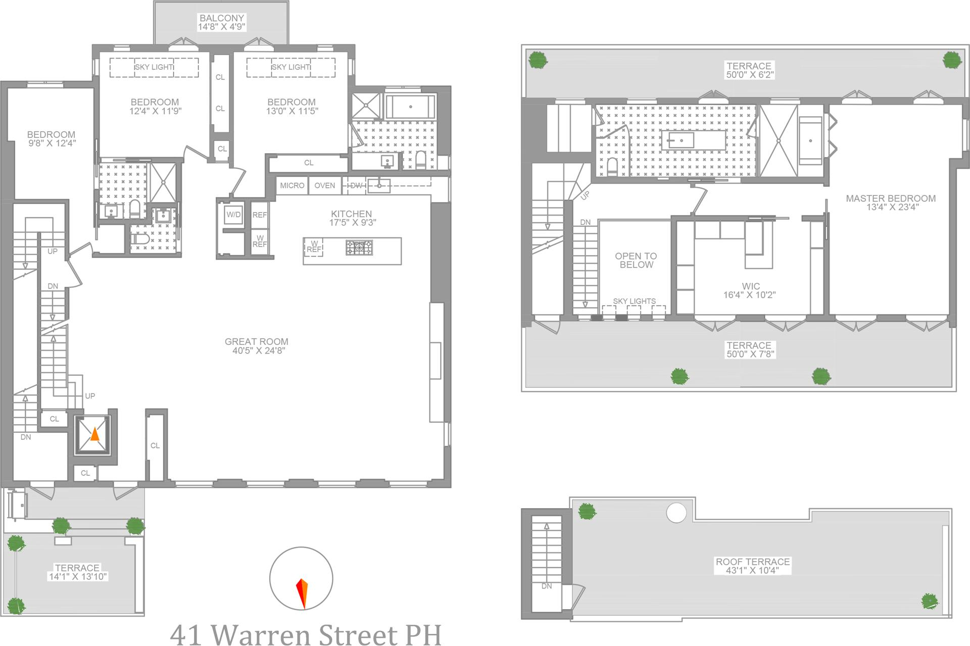Floor plan of 41 Warren St, PH - TriBeCa, New York