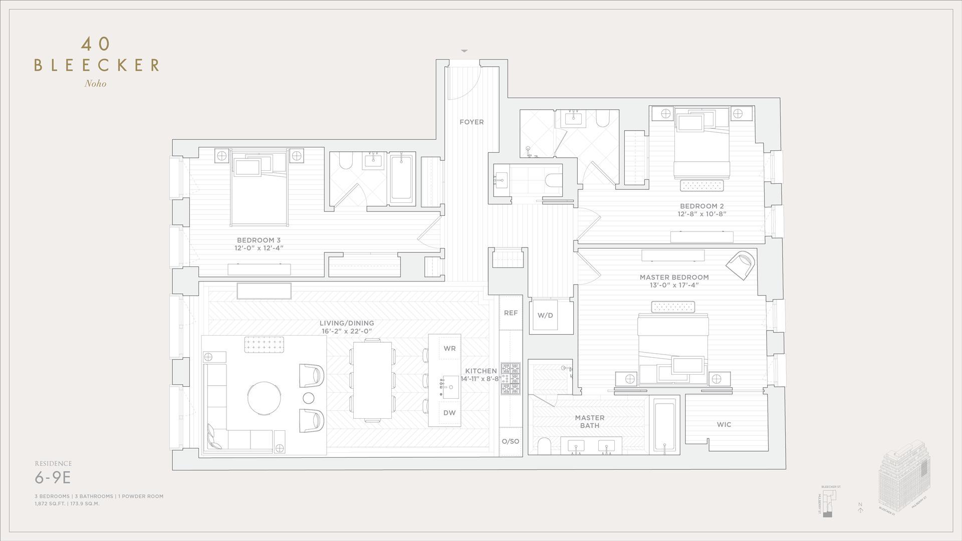 Floor plan of 40 Bleecker St, 7E - NoHo, New York