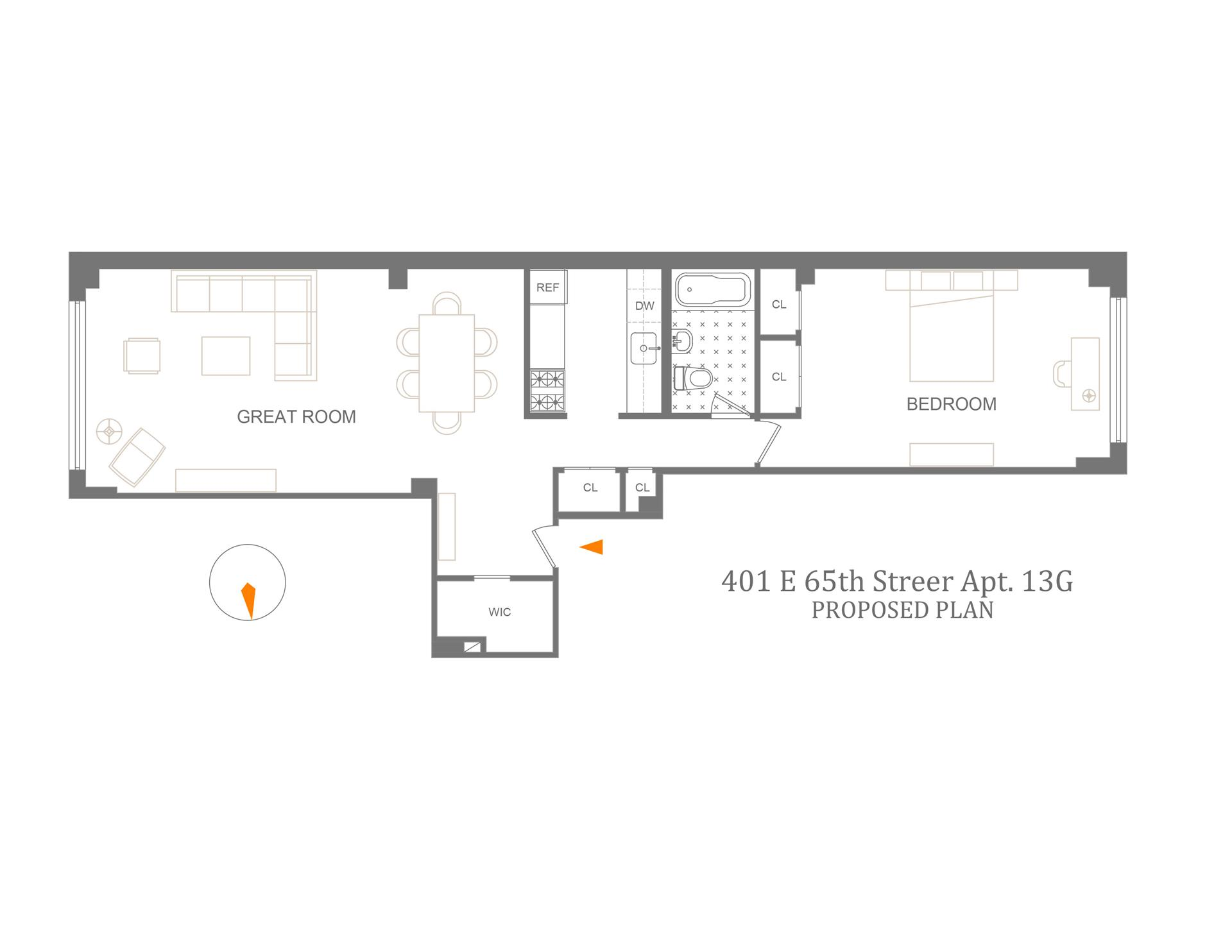 Floor plan of 401 East 65th Street, 13G - Upper East Side, New York