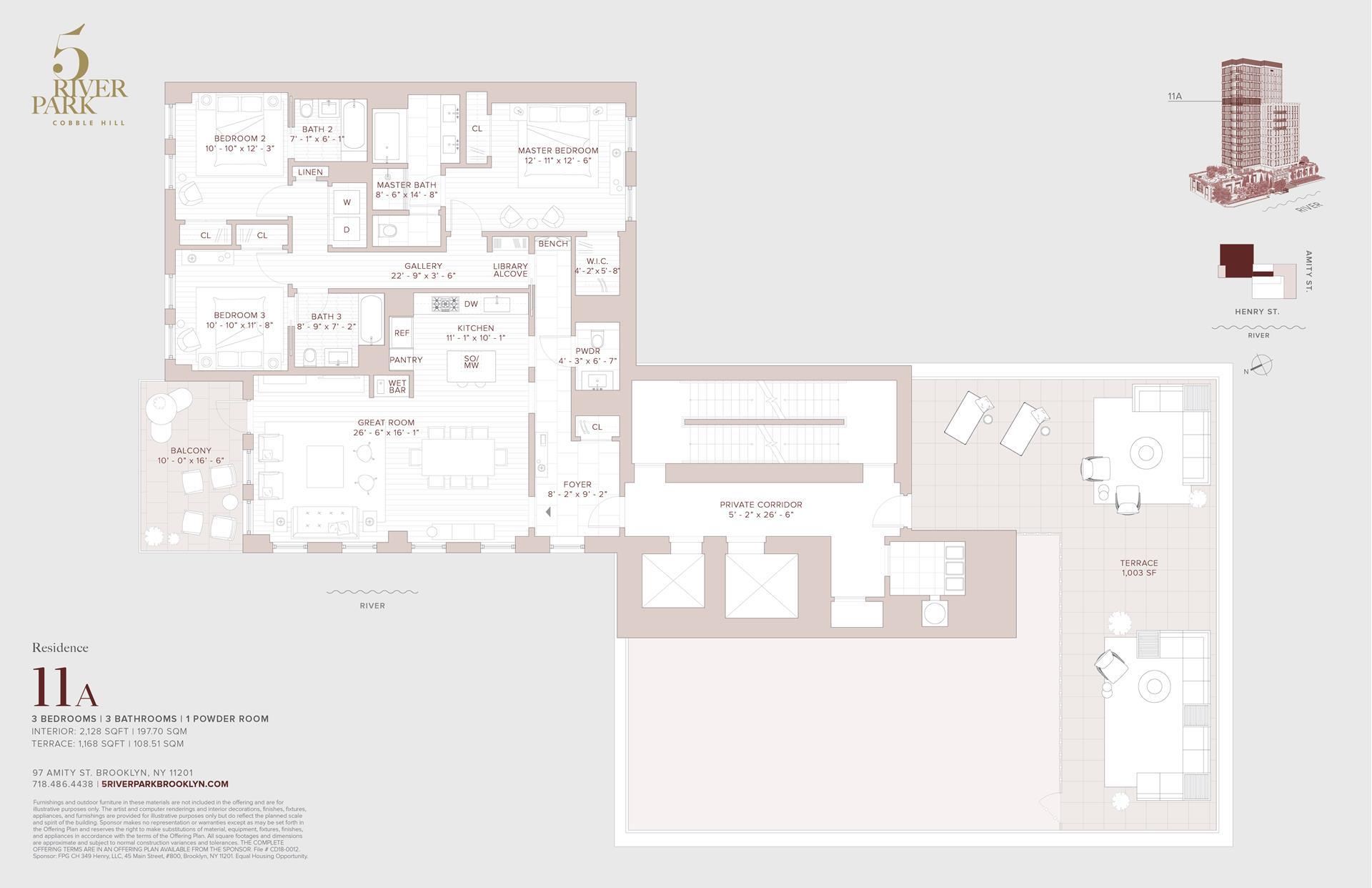 Floor plan of 5 River Park, 347 Henry St, 11A - Cobble Hill, New York