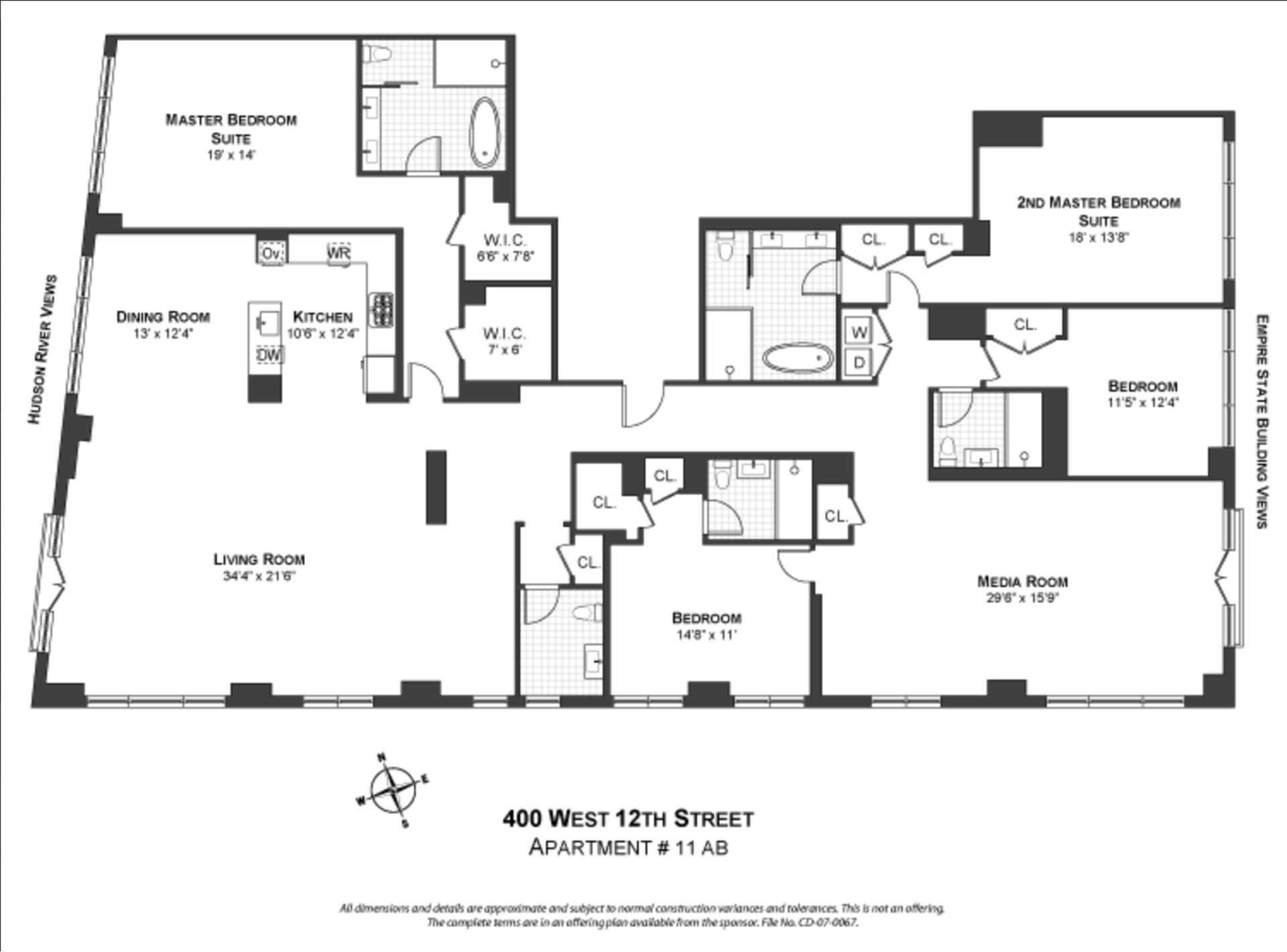 Floor plan of Superior Ink Condominiums, 400 West 12th St, 11ABCD - West Village - Meatpacking District, New York