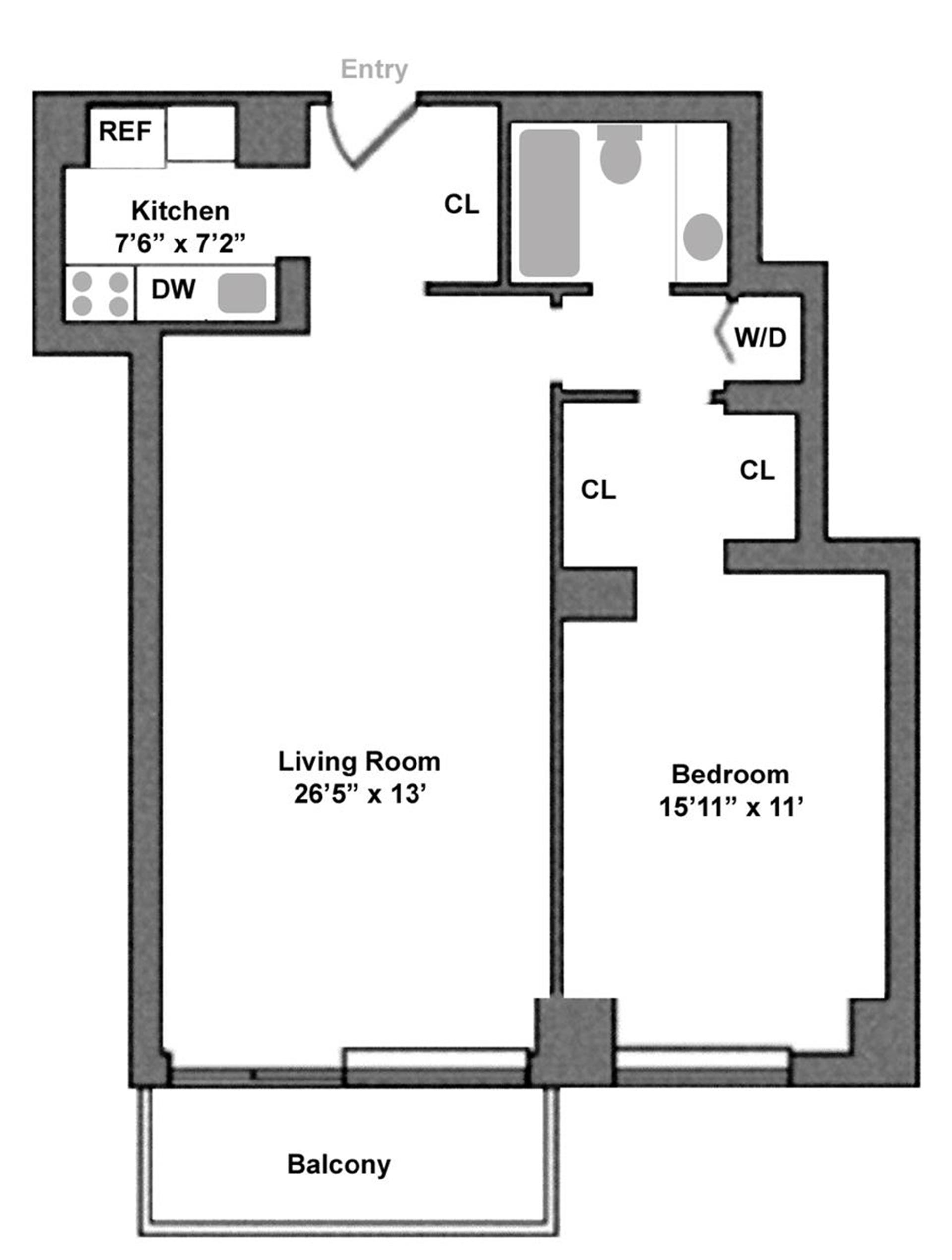 Floor plan of Astor Terrace, 245 East 93rd Street, 28F - Upper East Side, New York