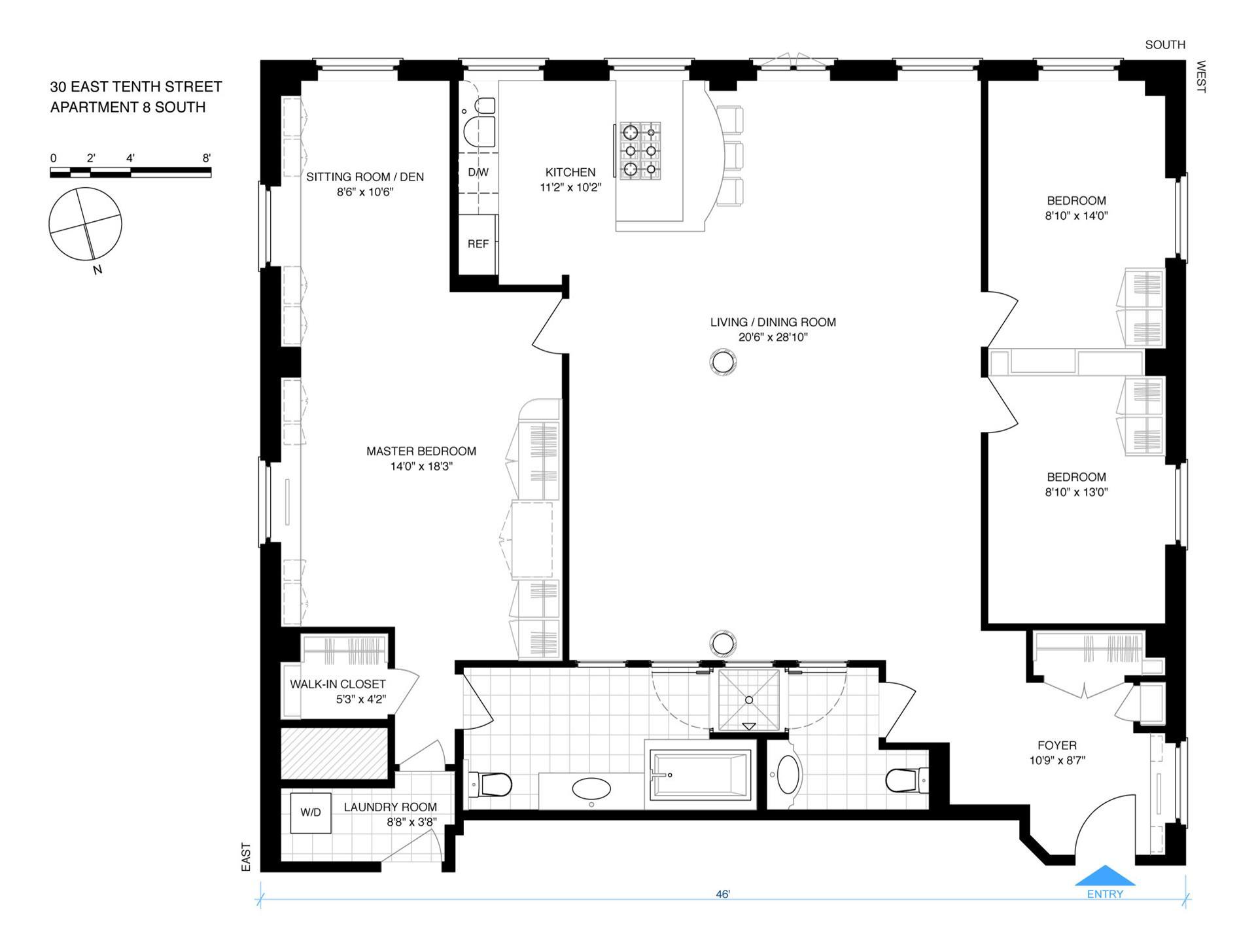 Floor plan of 30 East 10th Street, 8S - Greenwich Village, New York