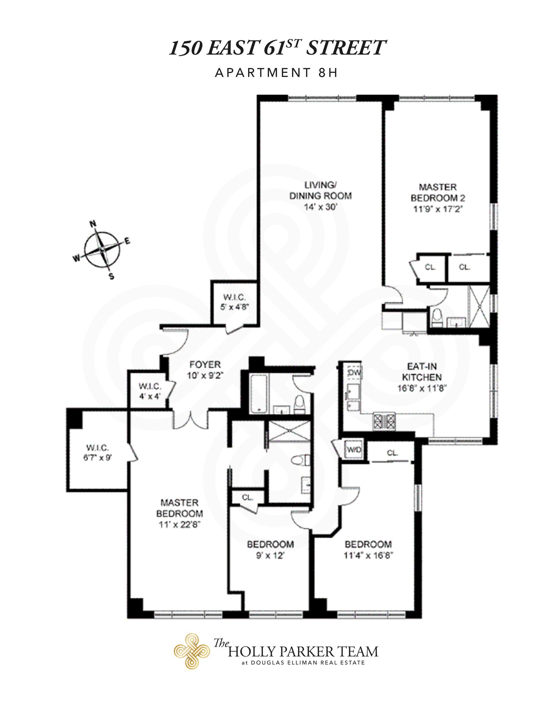 Floor plan of 150 East 61st St, 8H - Upper East Side, New York