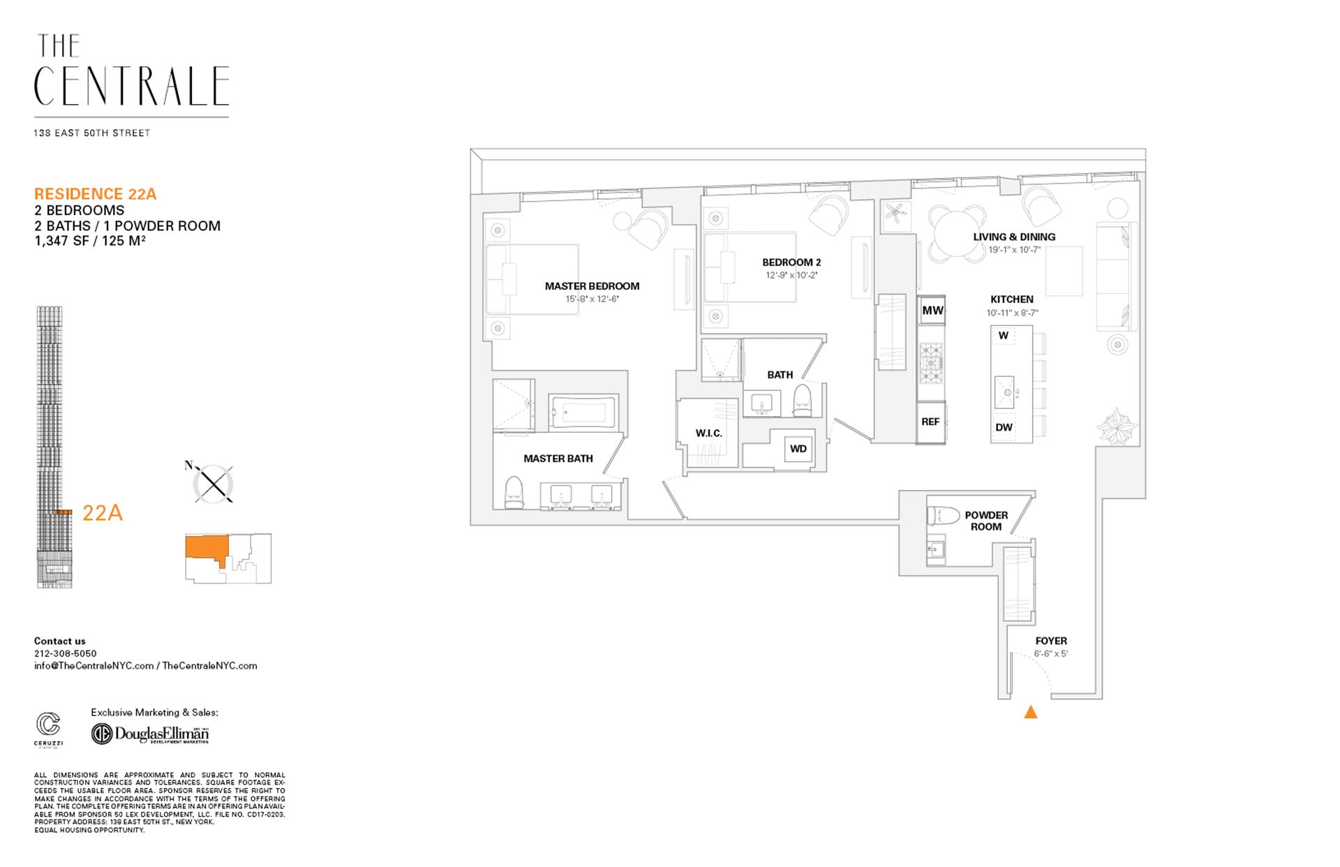 Floor plan of The Centrale, 138 East 50th St, 22A - Midtown, New York