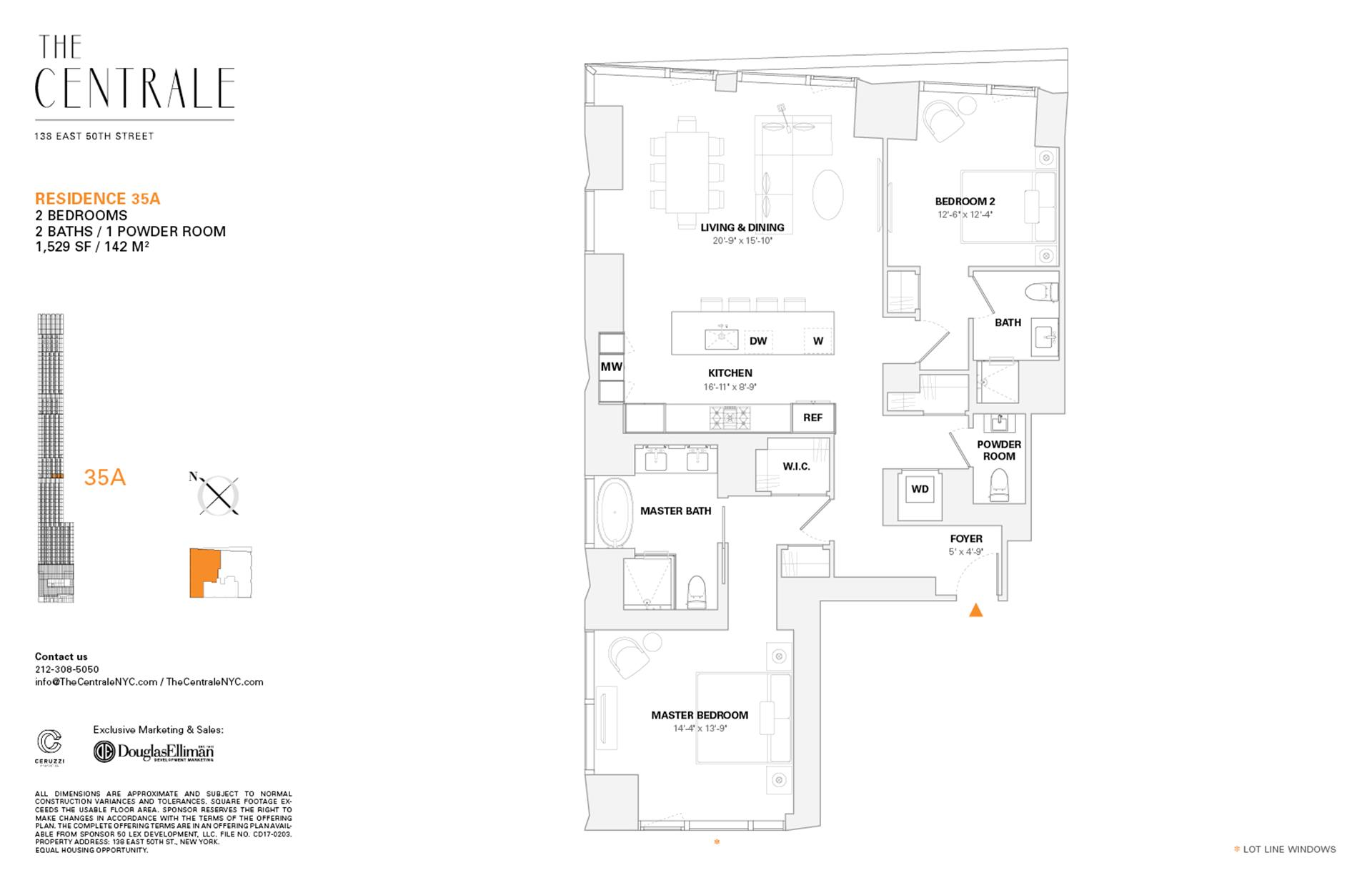 Floor plan of The Centrale, 138 East 50th Street, 35A - Midtown, New York