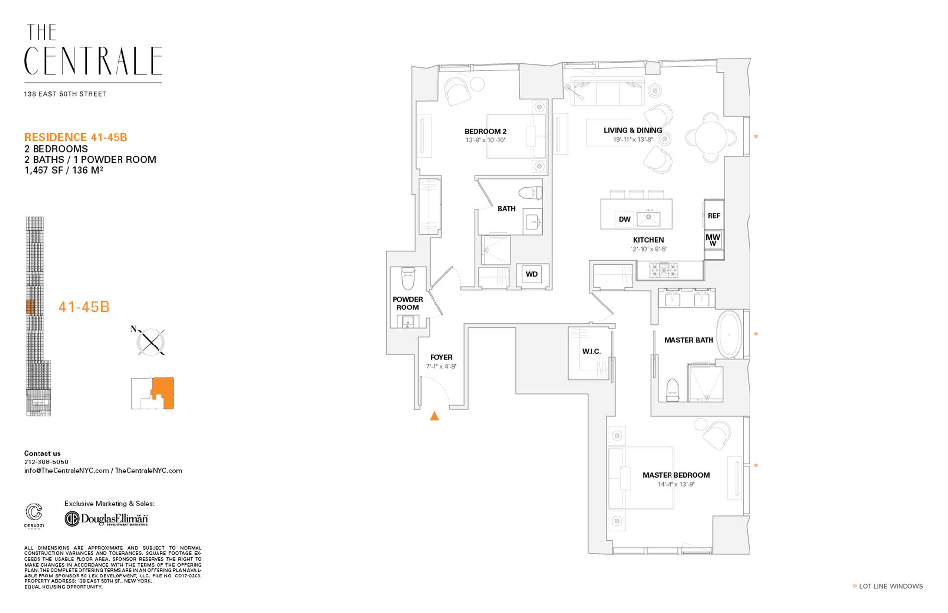 Floor plan of The Centrale, 138 East 50th Street, 43B - Midtown, New York