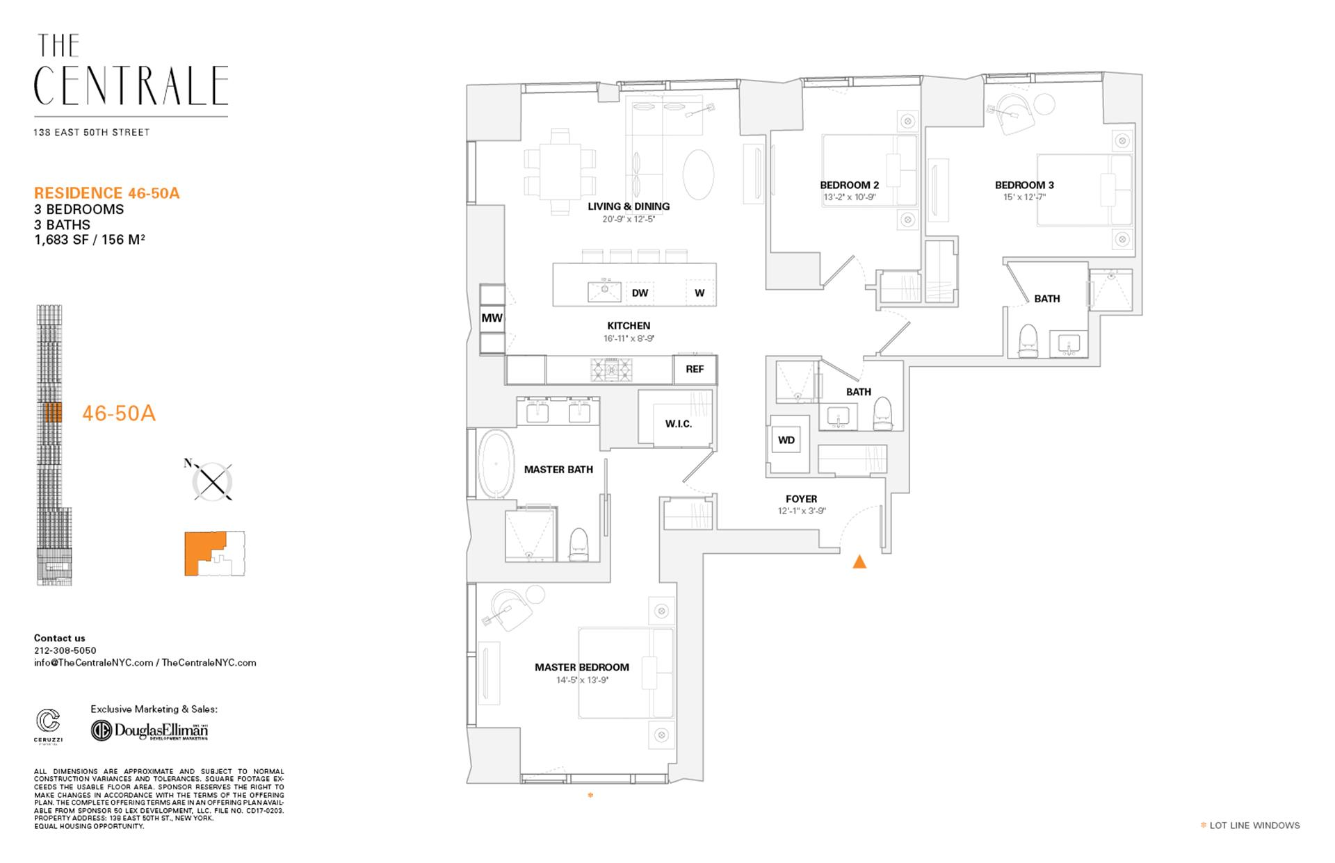 Floor plan of The Centrale, 138 East 50th St, 47A - Midtown, New York