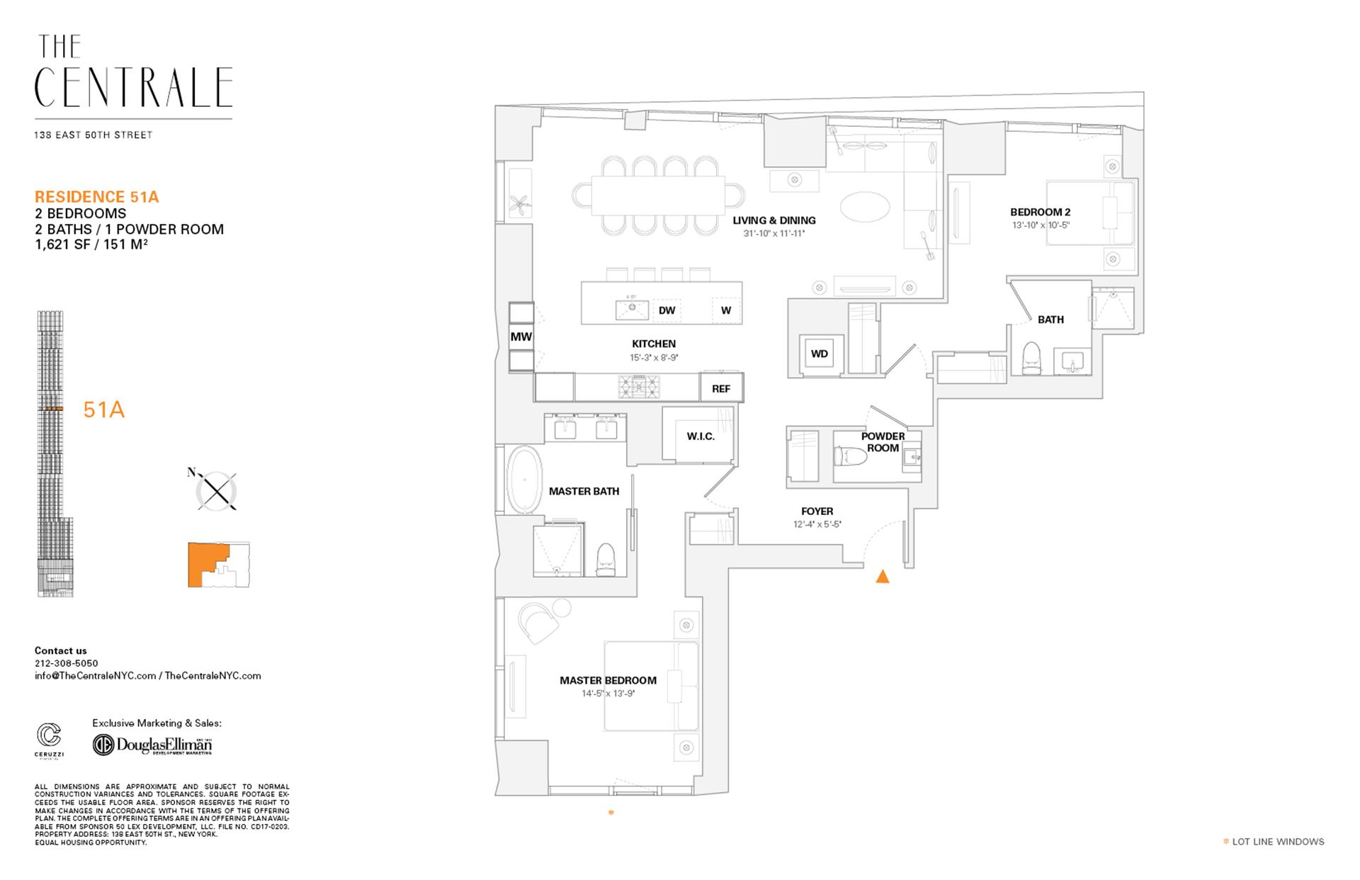 Floor plan of The Centrale, 138 East 50th Street, 51A - Midtown, New York