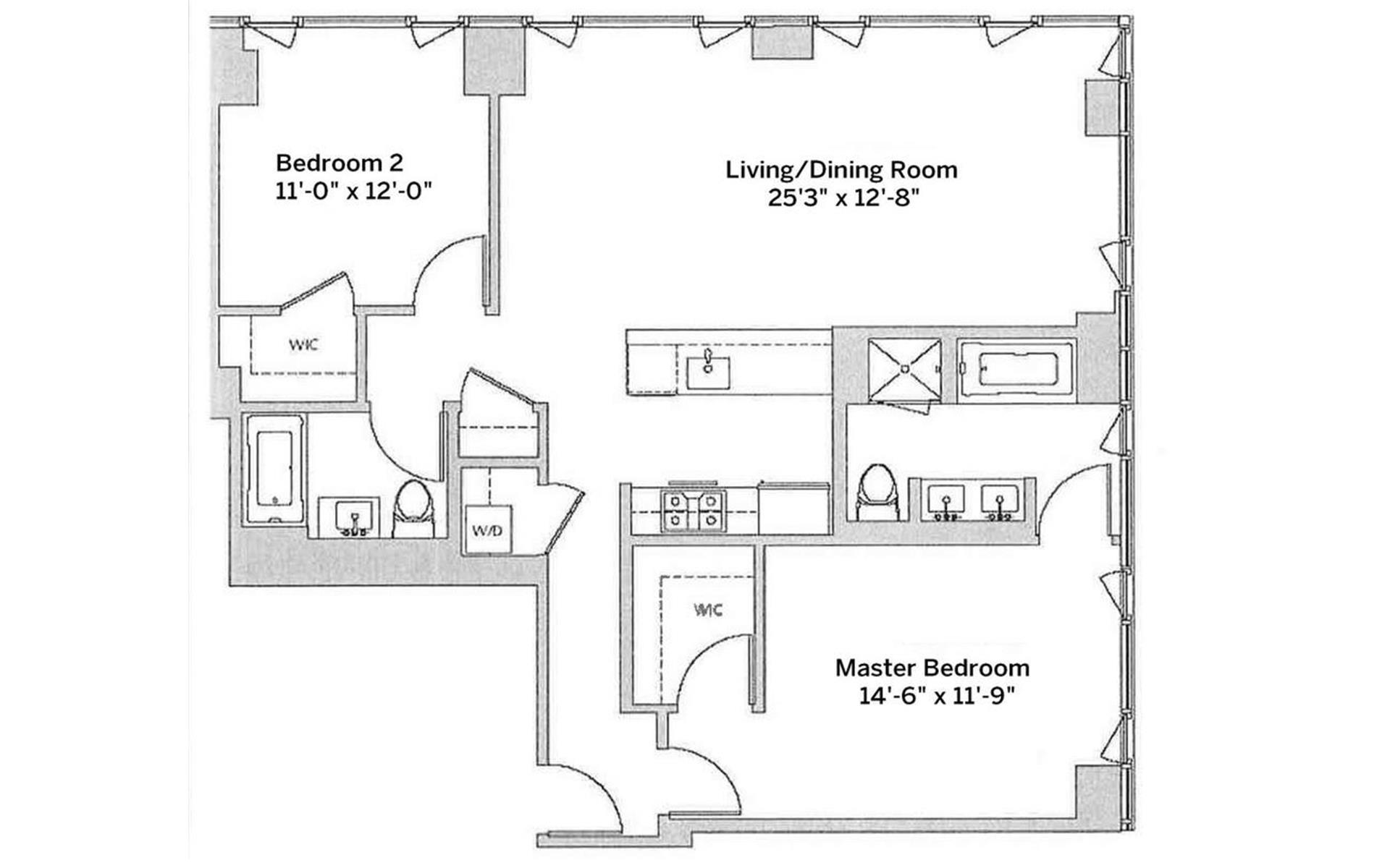 Floor plan of ONE TEN 3RD, 110 Third Avenue, 17B - East Village, New York
