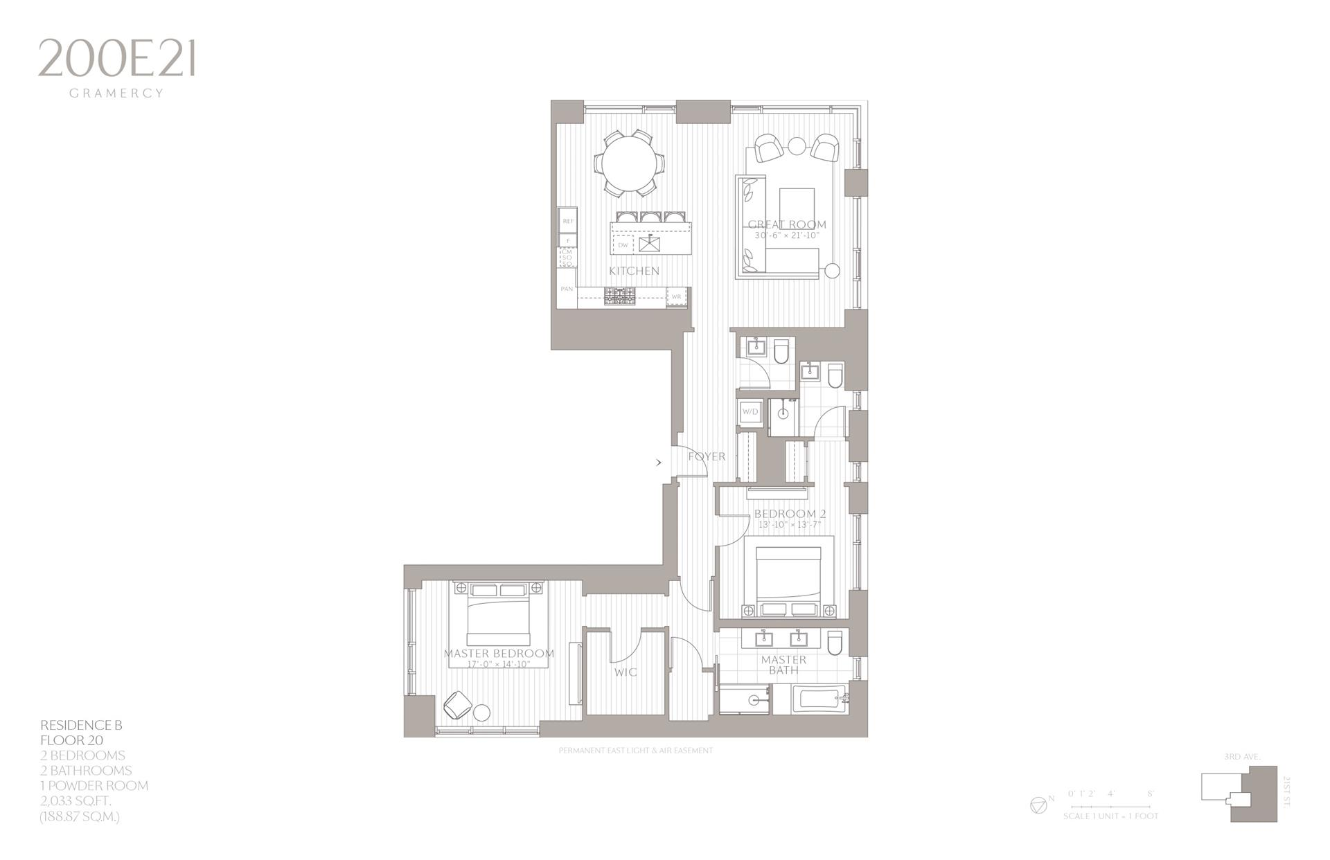 Floor plan of 200 East 21st Street, 20B - Gramercy - Union Square, New York