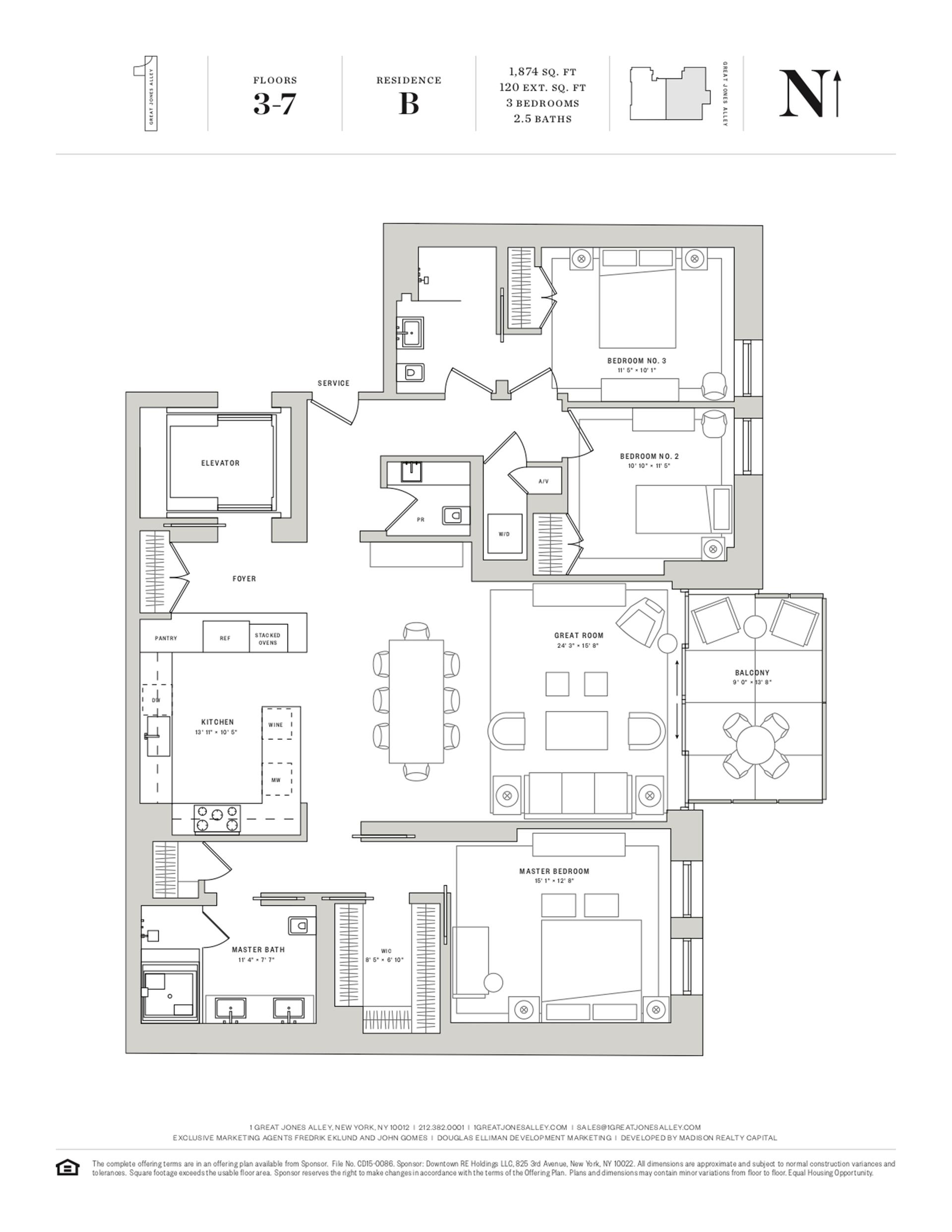 Floor plan of 1 Great Jones Alley, 5B - NoHo, New York