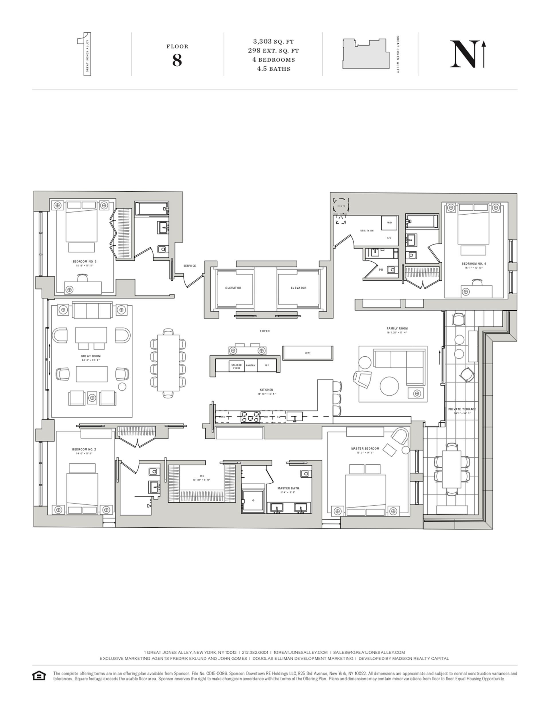 Floor plan of 1 Great Jones Alley, 8 - NoHo, New York