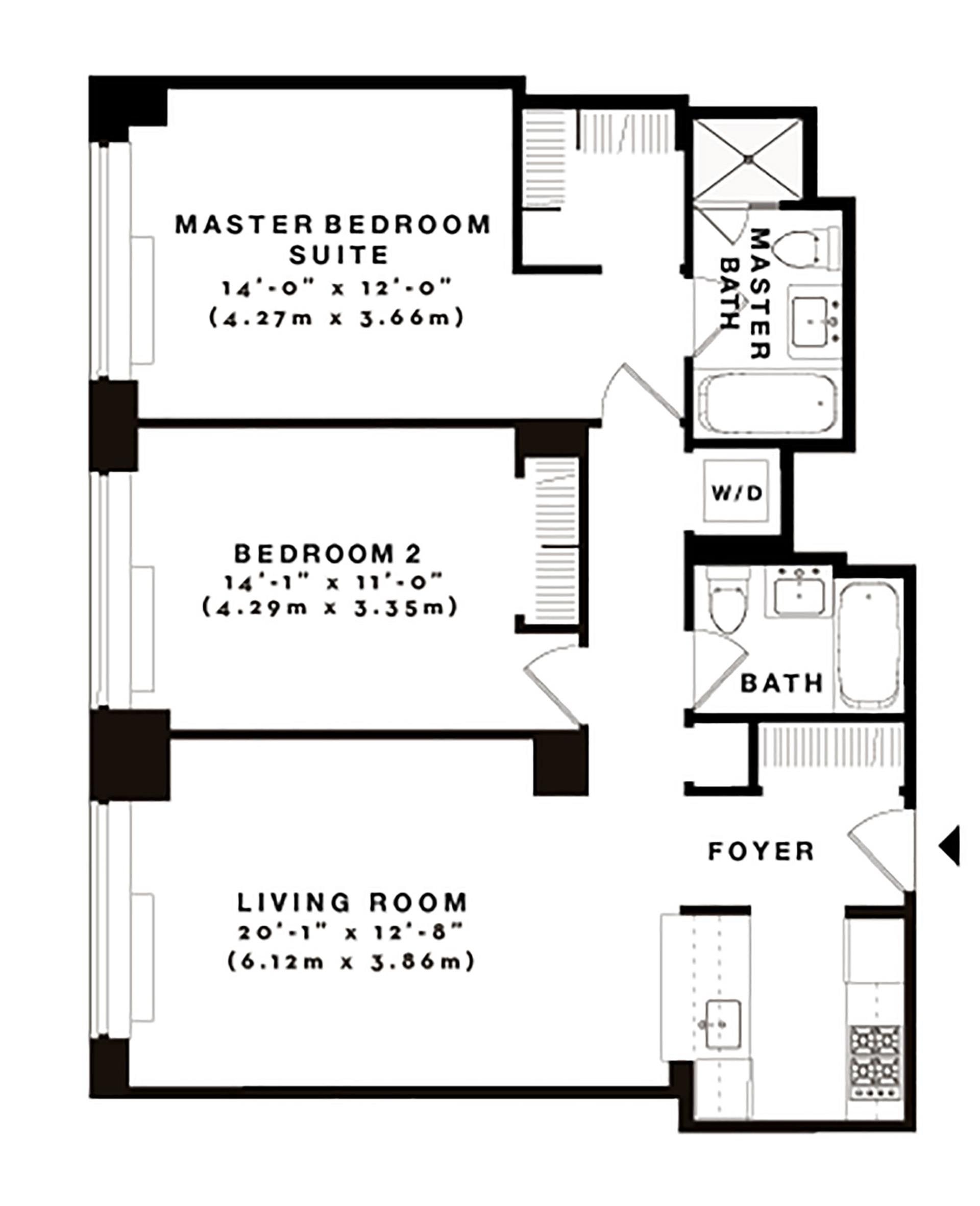 Floor plan of The Avery, 100 Riverside Boulevard, 14P - Upper West Side, New York