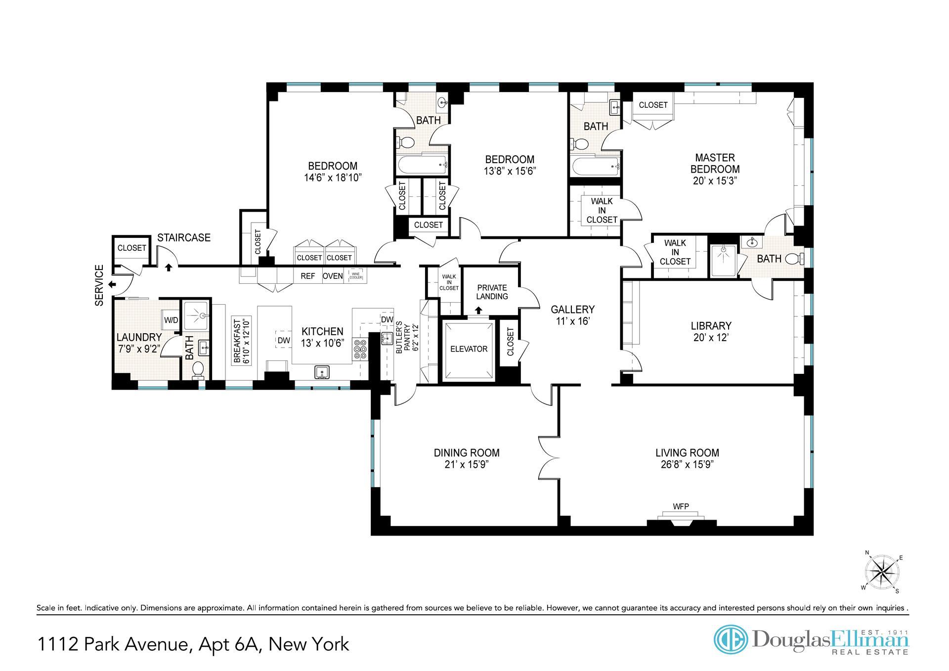Floor plan of Eleven-Twelve Corporation, 1112 Park Avenue, 6A - Carnegie Hill, New York