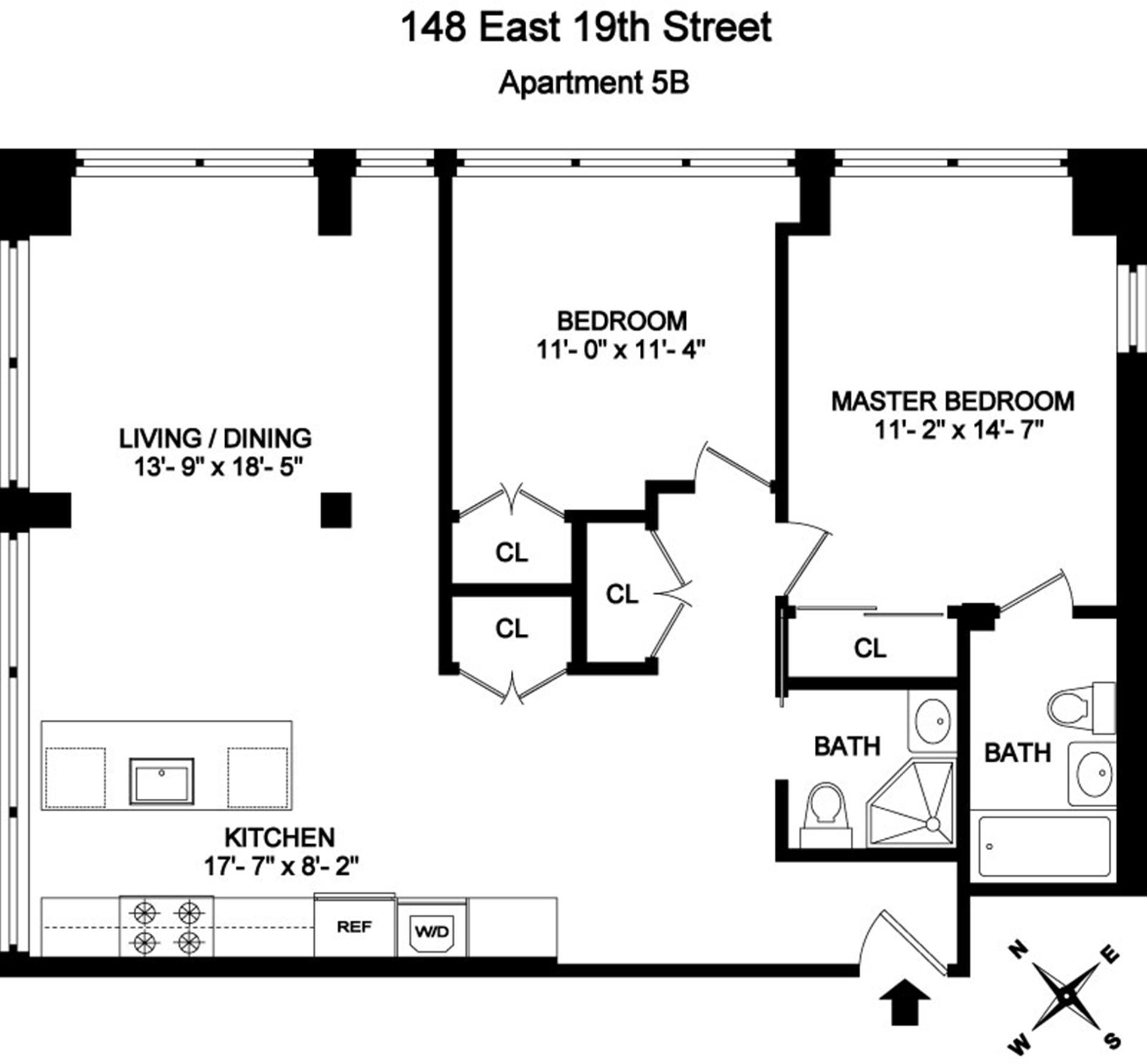 Floor plan of Gramercy 19, 148 East 19th Street, 5B - Gramercy - Union Square, New York