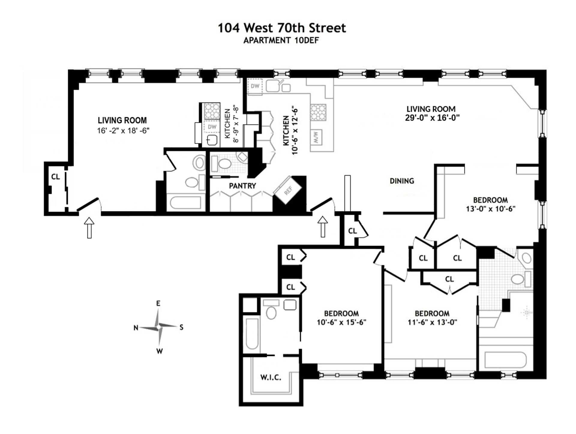 Floor plan of THE WALTON, 104 West 70th Street, 10DEF - Upper West Side, New York