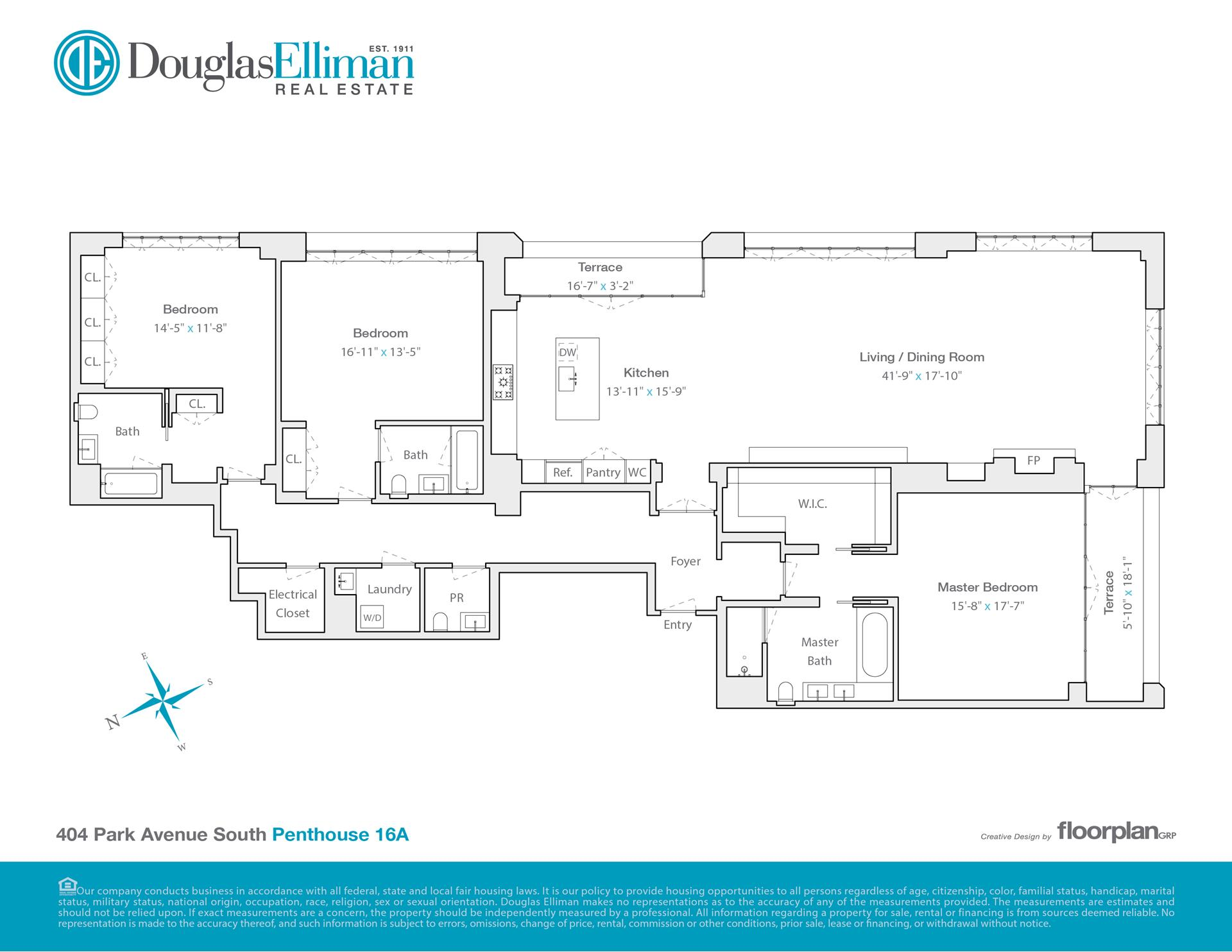 Floor plan of HUYS, 404 Park Avenue South, PH16A - NoMad, New York