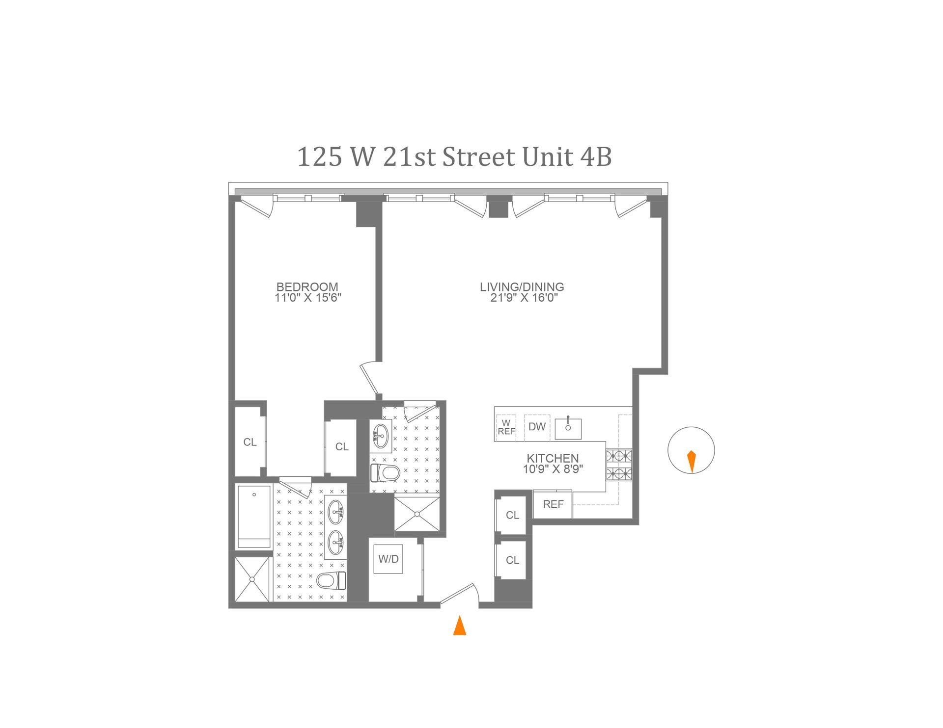 Floor plan of The Indigo Condominium, 125 West 21st Street, 4B - Chelsea, New York