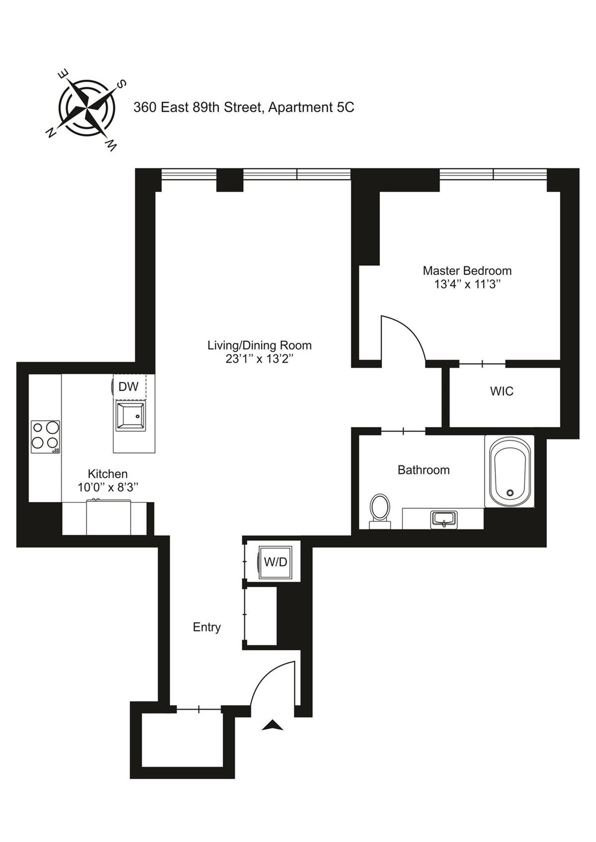 Floor plan of Citizen 360, 360 East 89th Street, 5C - Carnegie Hill, New York