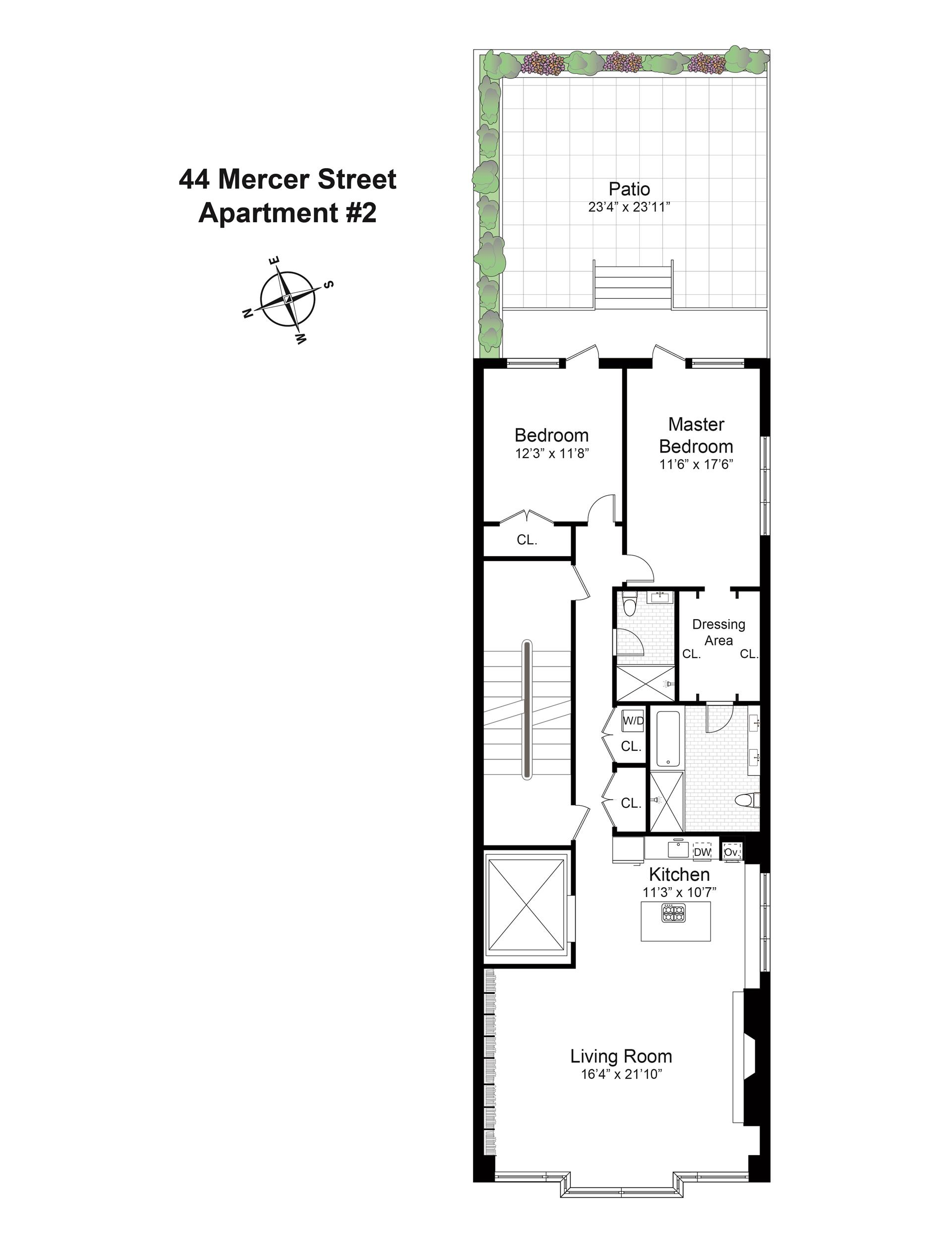 Floor plan of 44 Mercer Street, 2 - SoHo - Nolita, New York