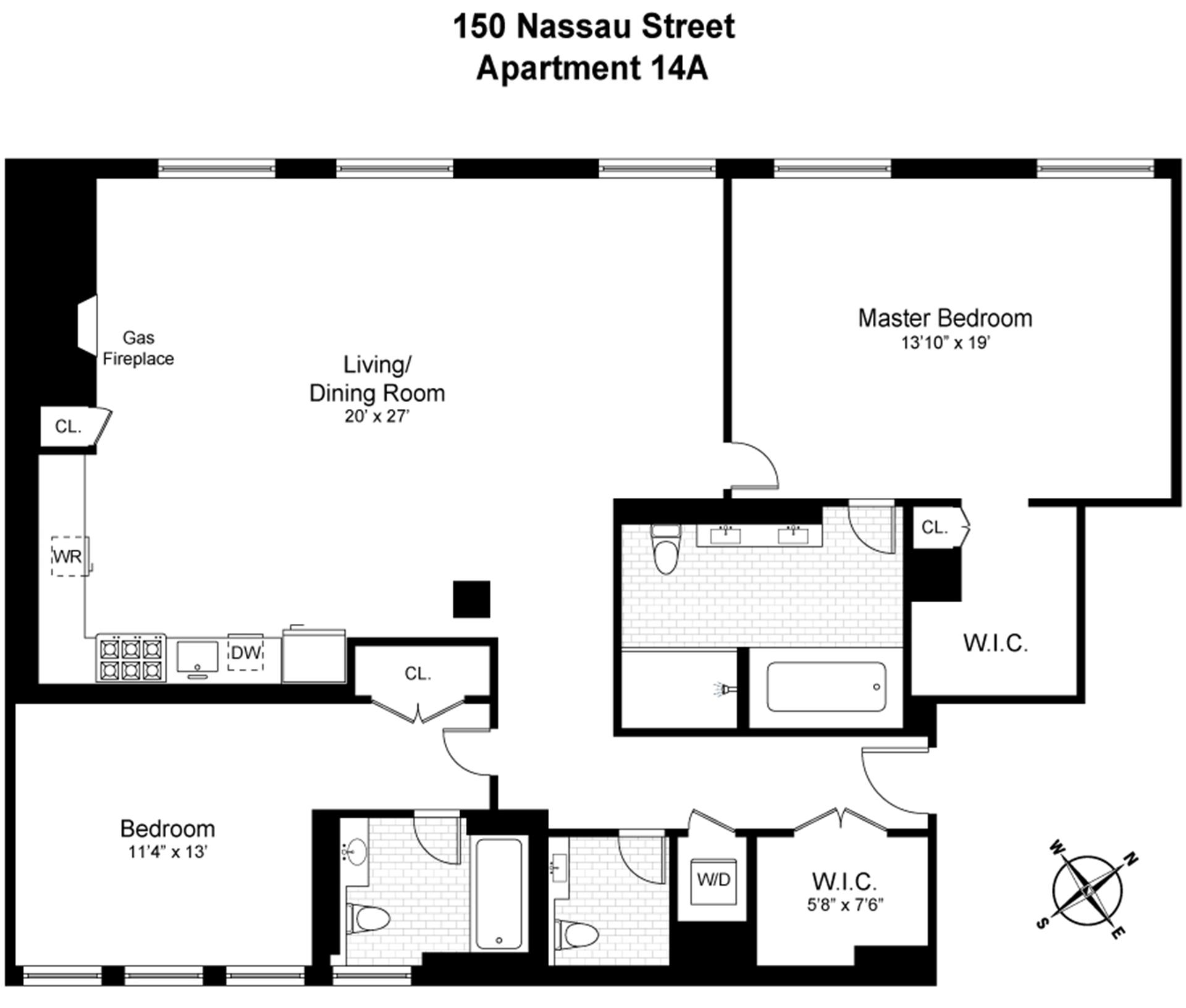 Floor plan of 150 Nassau Street, 14A - Financial District, New York