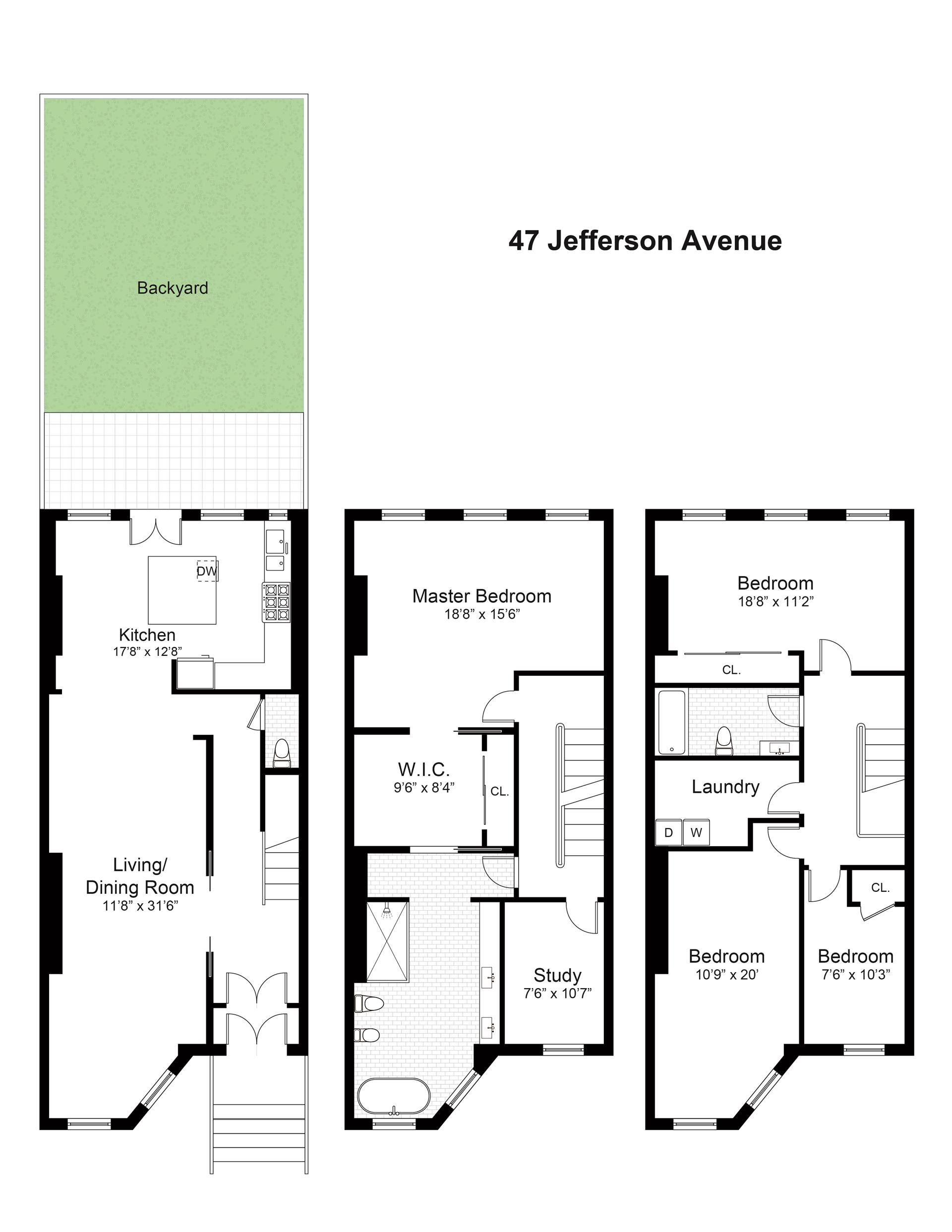 Floor plan of 47 Jefferson Avenue, 2 - Bedford - Stuyvesant, New York