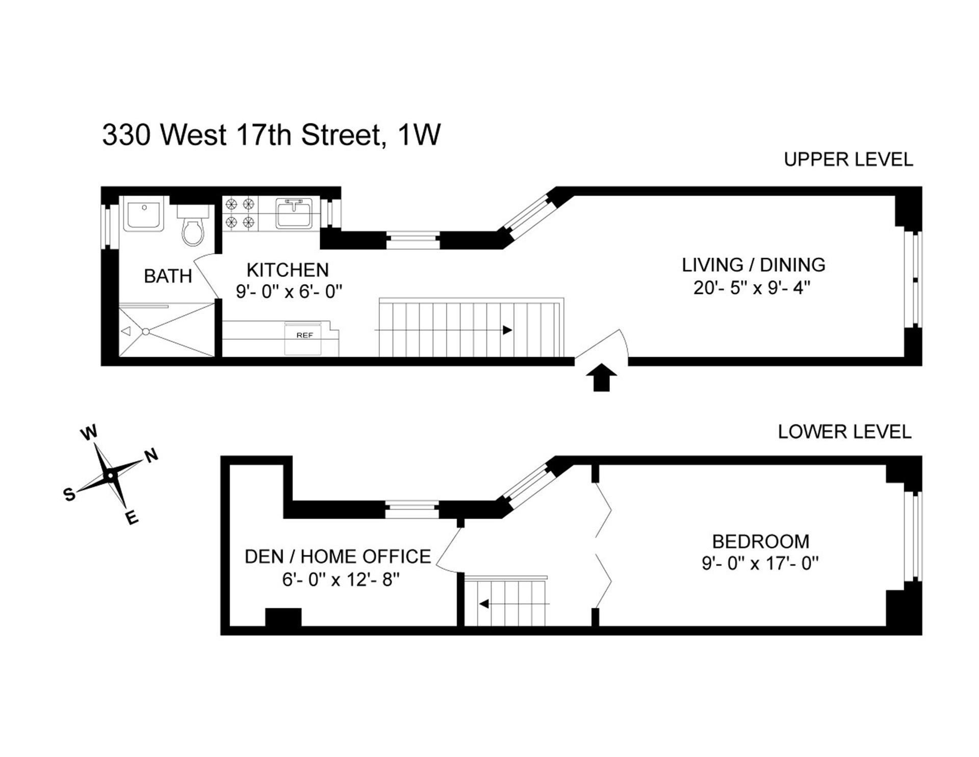 Floor plan of 330 West 17th Street, 1W - Chelsea, New York