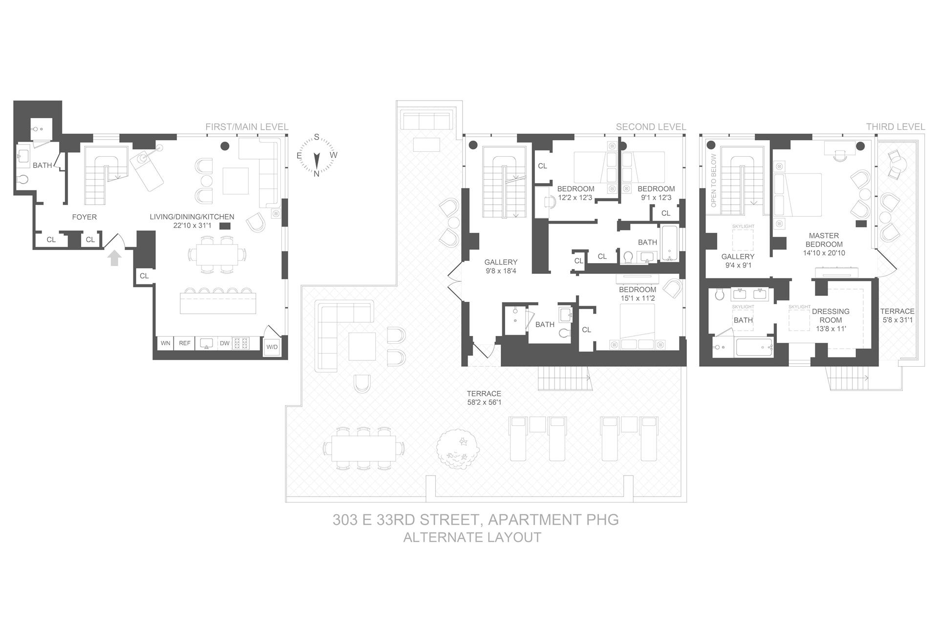 Floor plan of 303 East 33rd Street, PHG - Kips Bay, New York