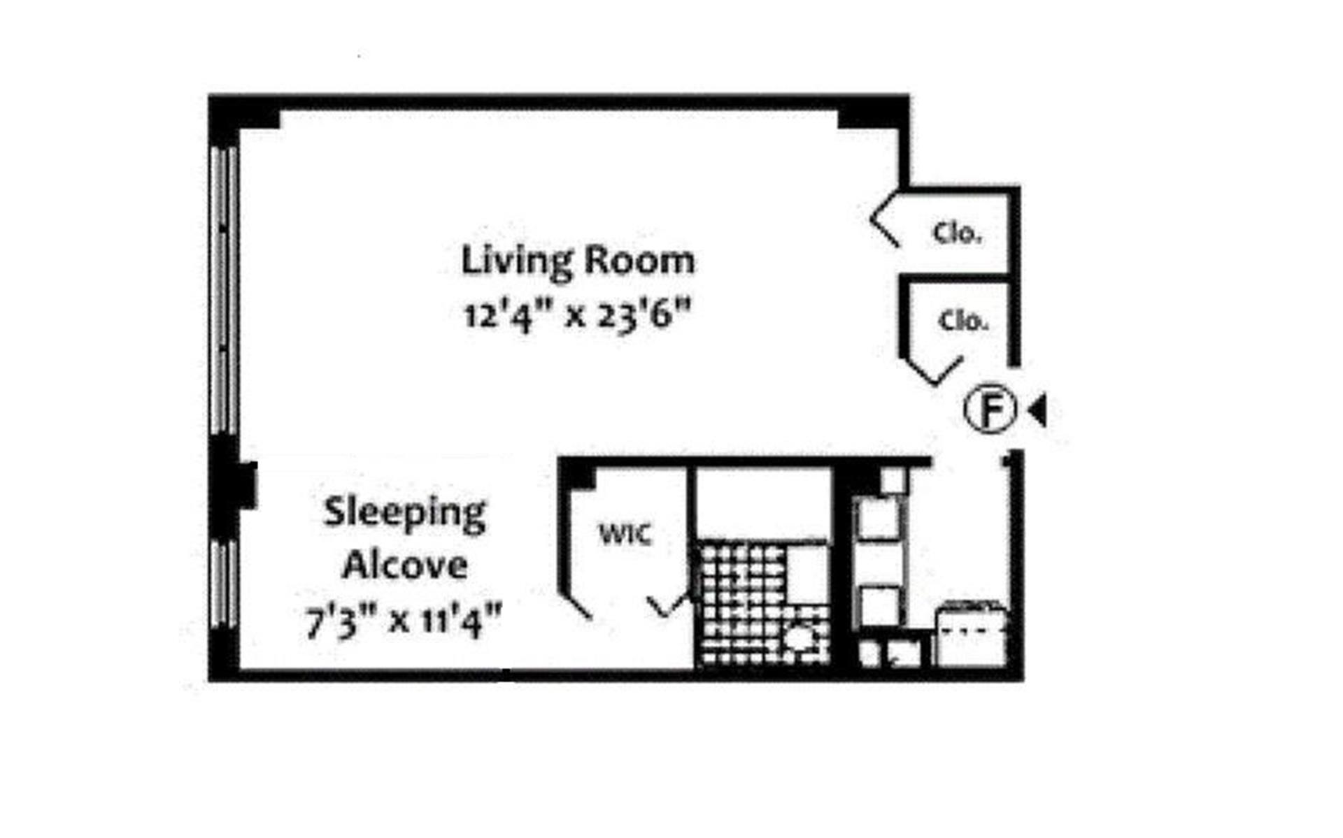 Floor plan of 201 East 37th Street, 2F - Murray Hill, New York