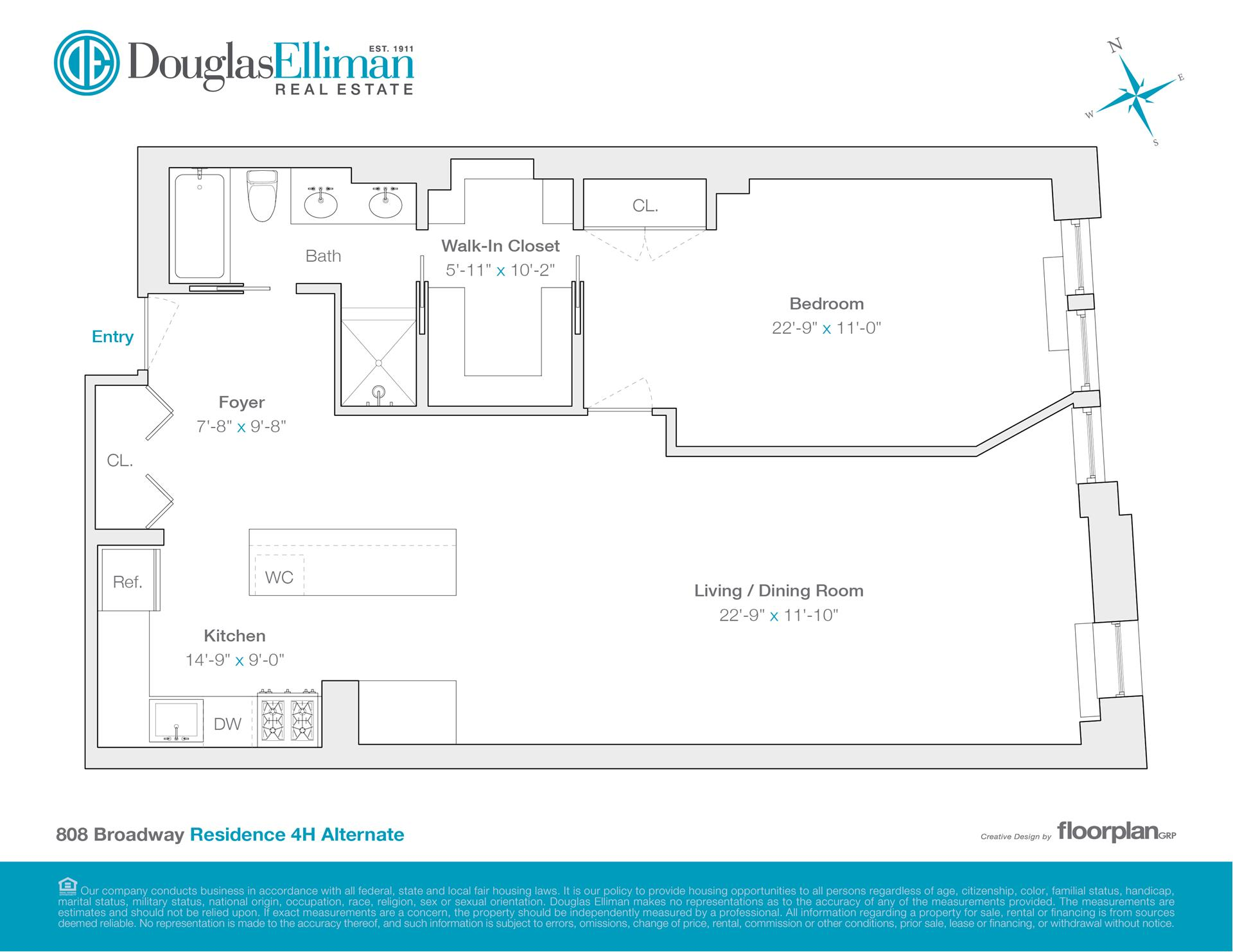 Floor plan of THE RENWICK, 808 Broadway, 4H - Greenwich Village, New York