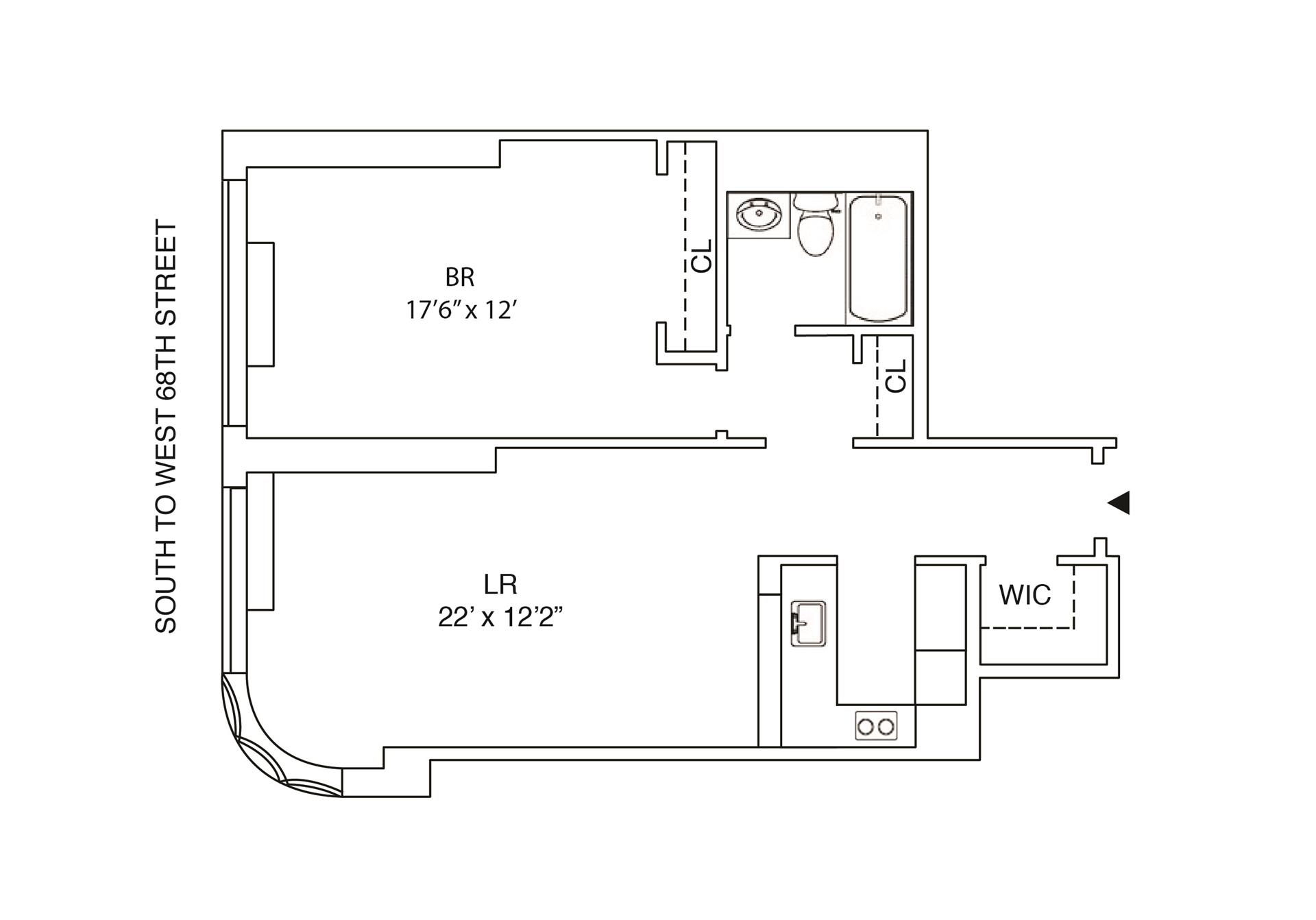 Floor plan of 2000 Broadway, 6H - Upper West Side, New York