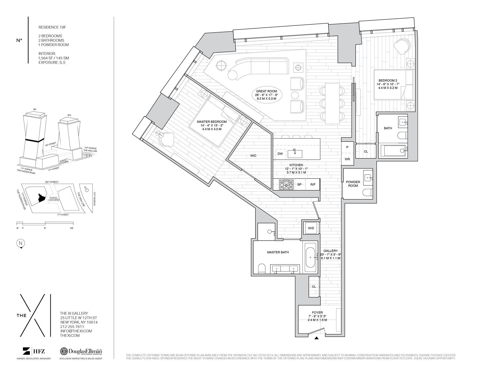 Floor plan of The XI, 76 Eleventh Avenue, 19F - Chelsea, New York