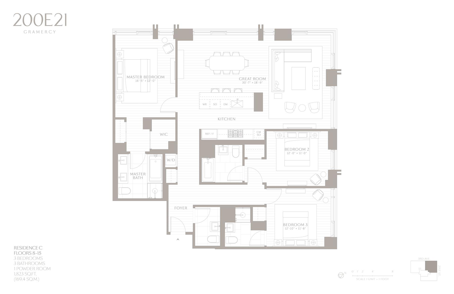 Floor plan of 200 East 21st Street, 12C - Gramercy - Union Square, New York