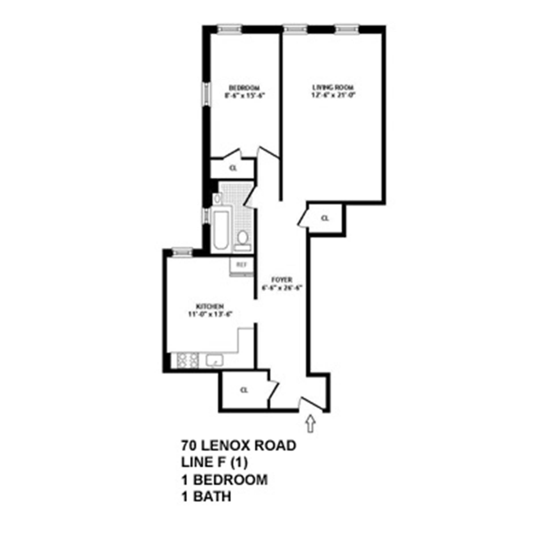 Floor plan of 70 Lenox Rd, F1 - Prospect-Lefferts Gardens, New York