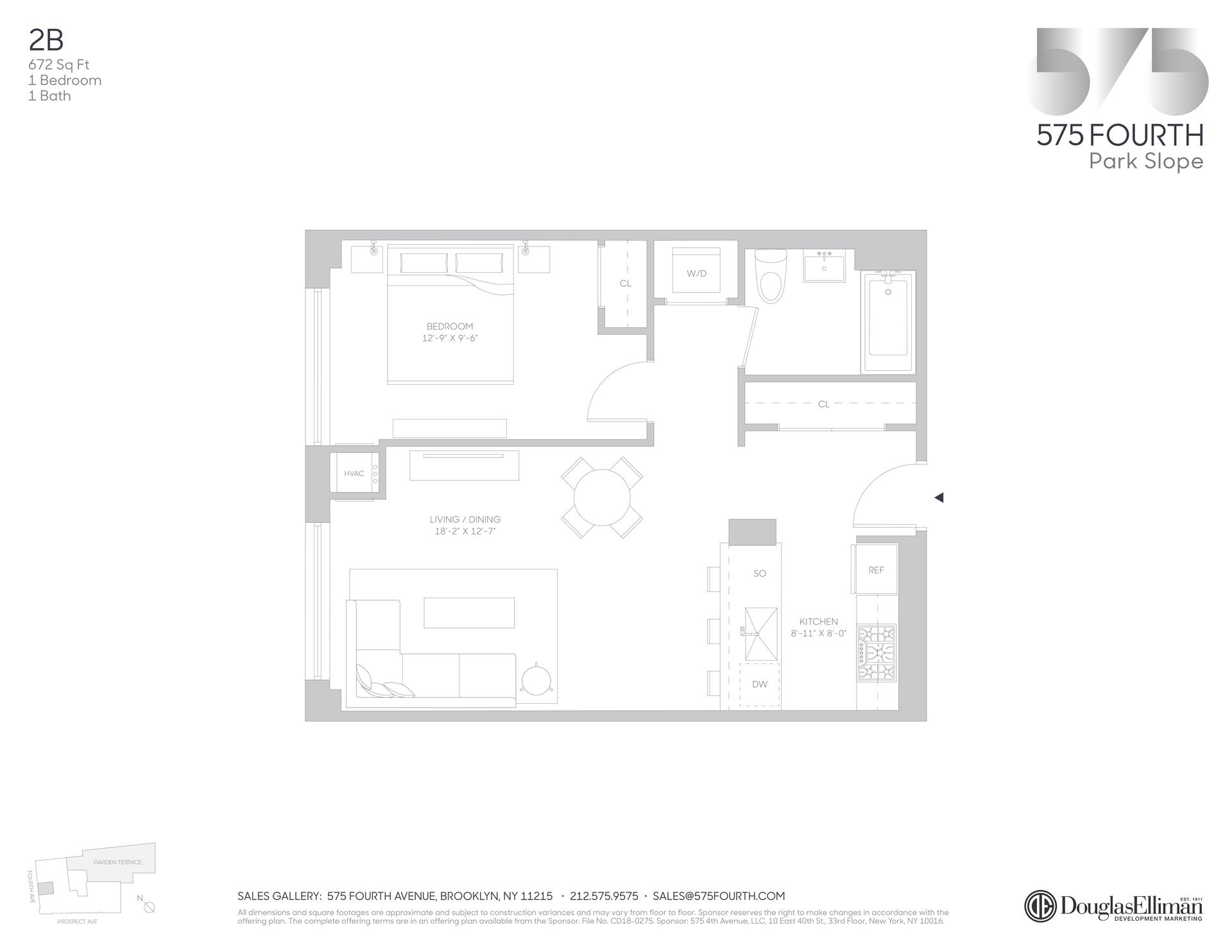 Floor plan of 575 Fourth Avenue, 2B - Park Slope, New York