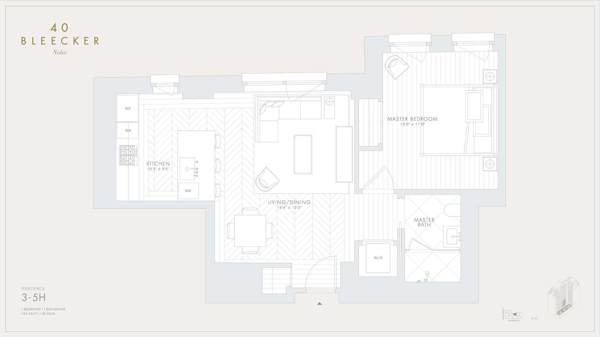 Floor plan of 40 Bleecker Street, 4H - NoHo, New York