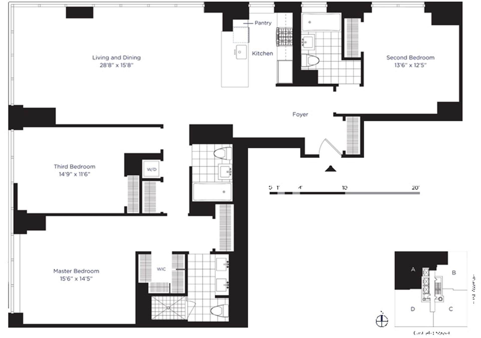 Floor plan of AZURE, 333 East 91st Street, 27A - Upper East Side, New York