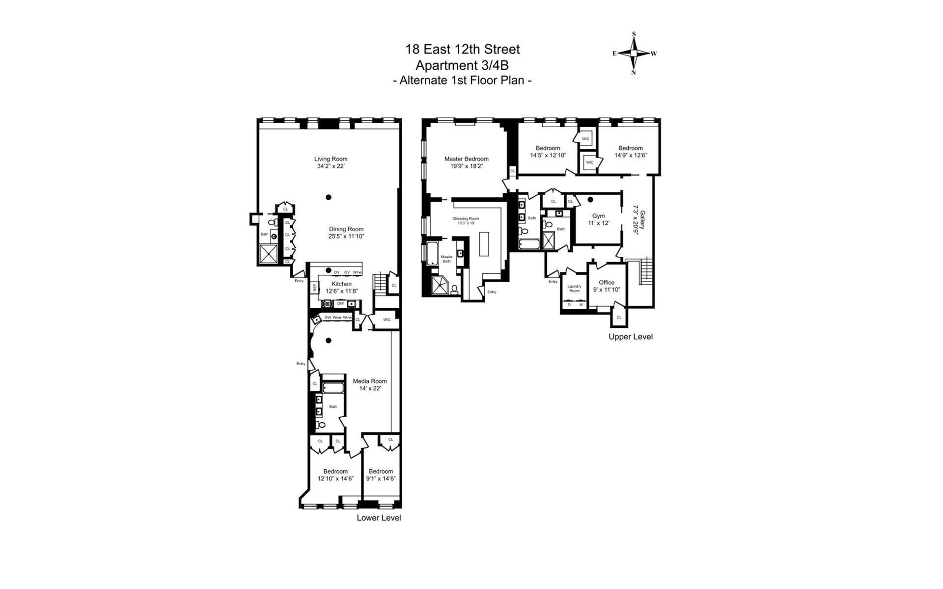 Floor plan of 18 East 12th Street, 3/4B - Greenwich Village, New York