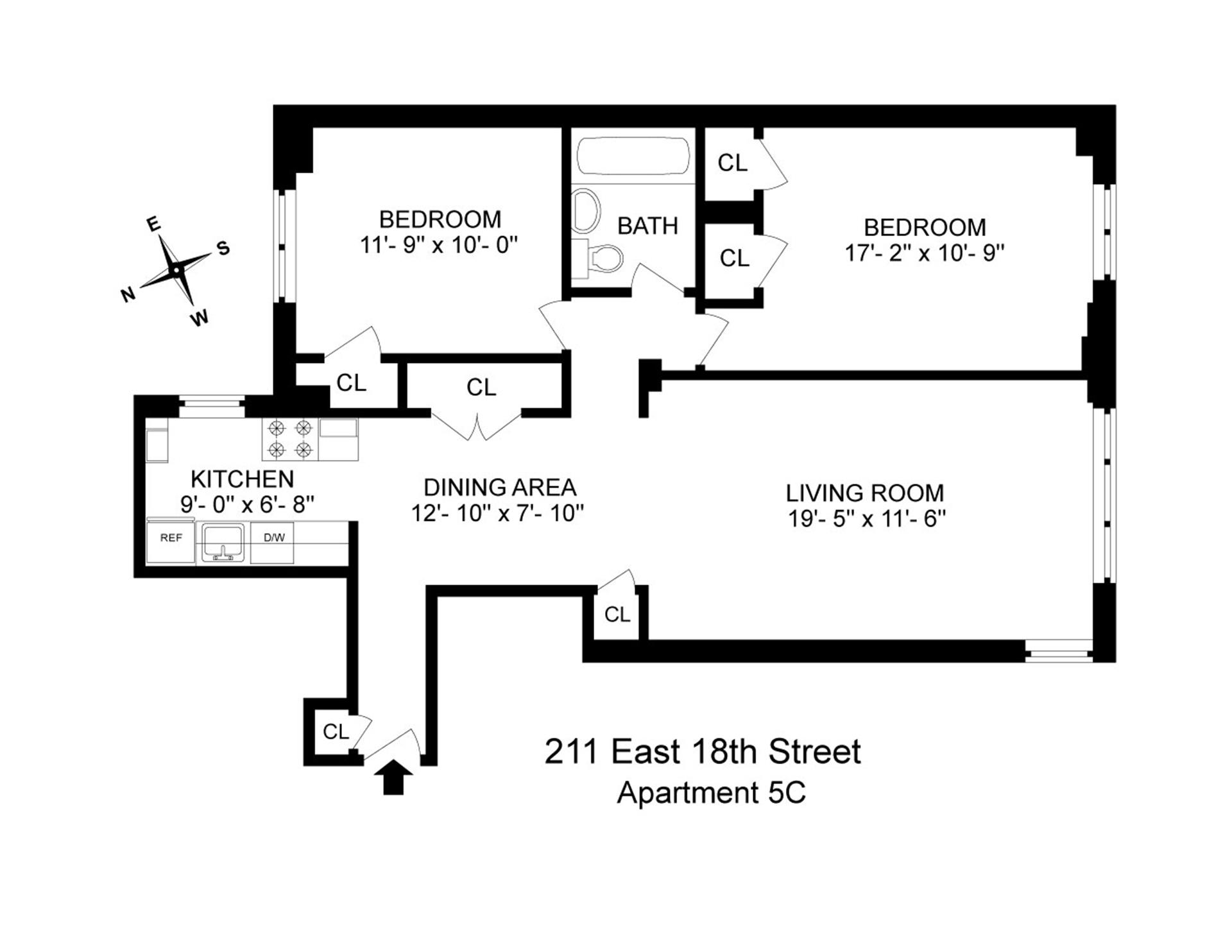 Floor plan of 211 East 18 St Owners Inc, 211 East 18th Street, 5C - Gramercy - Union Square, New York