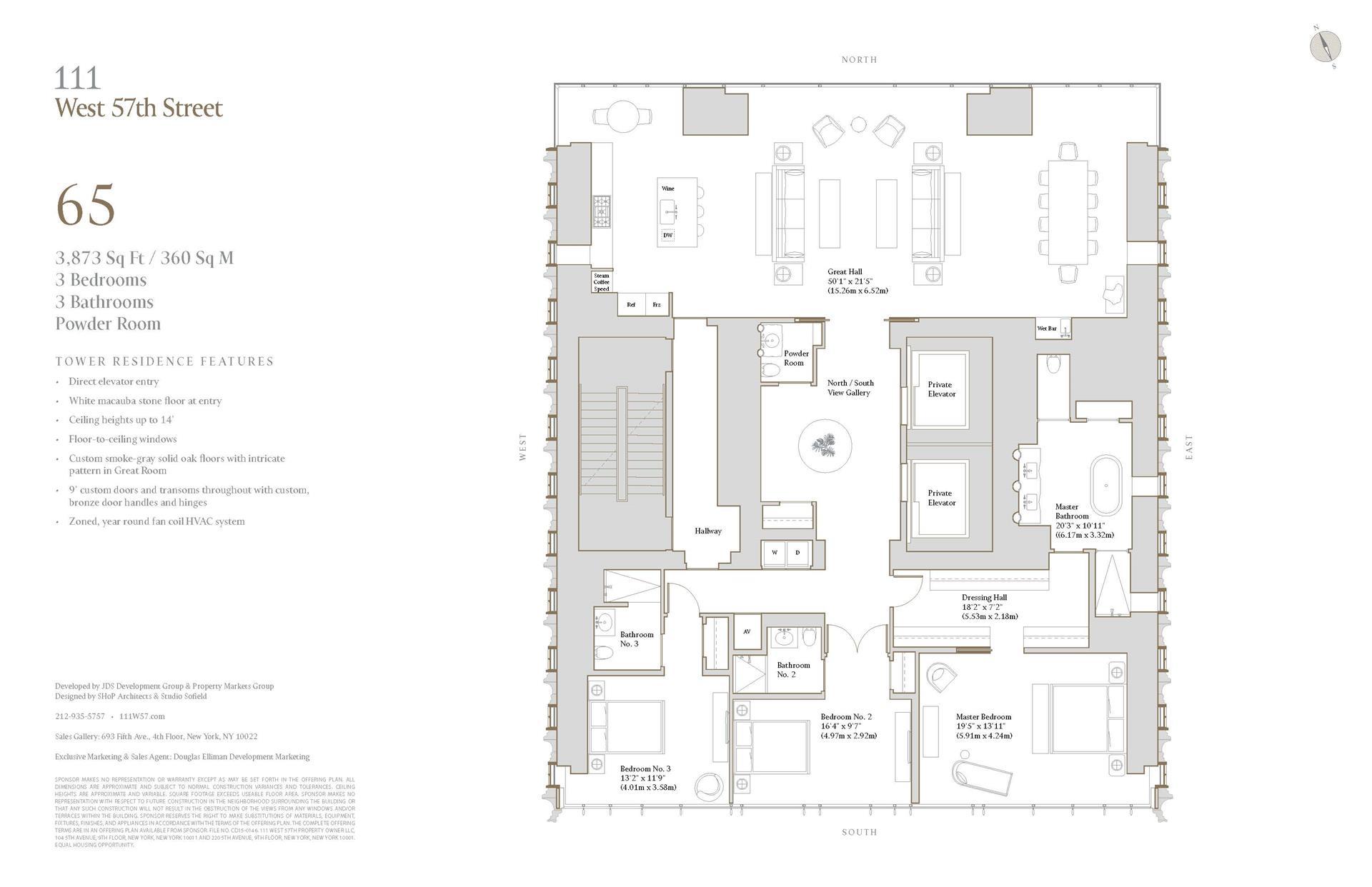 Floor plan of 111 West 57th Street, 65