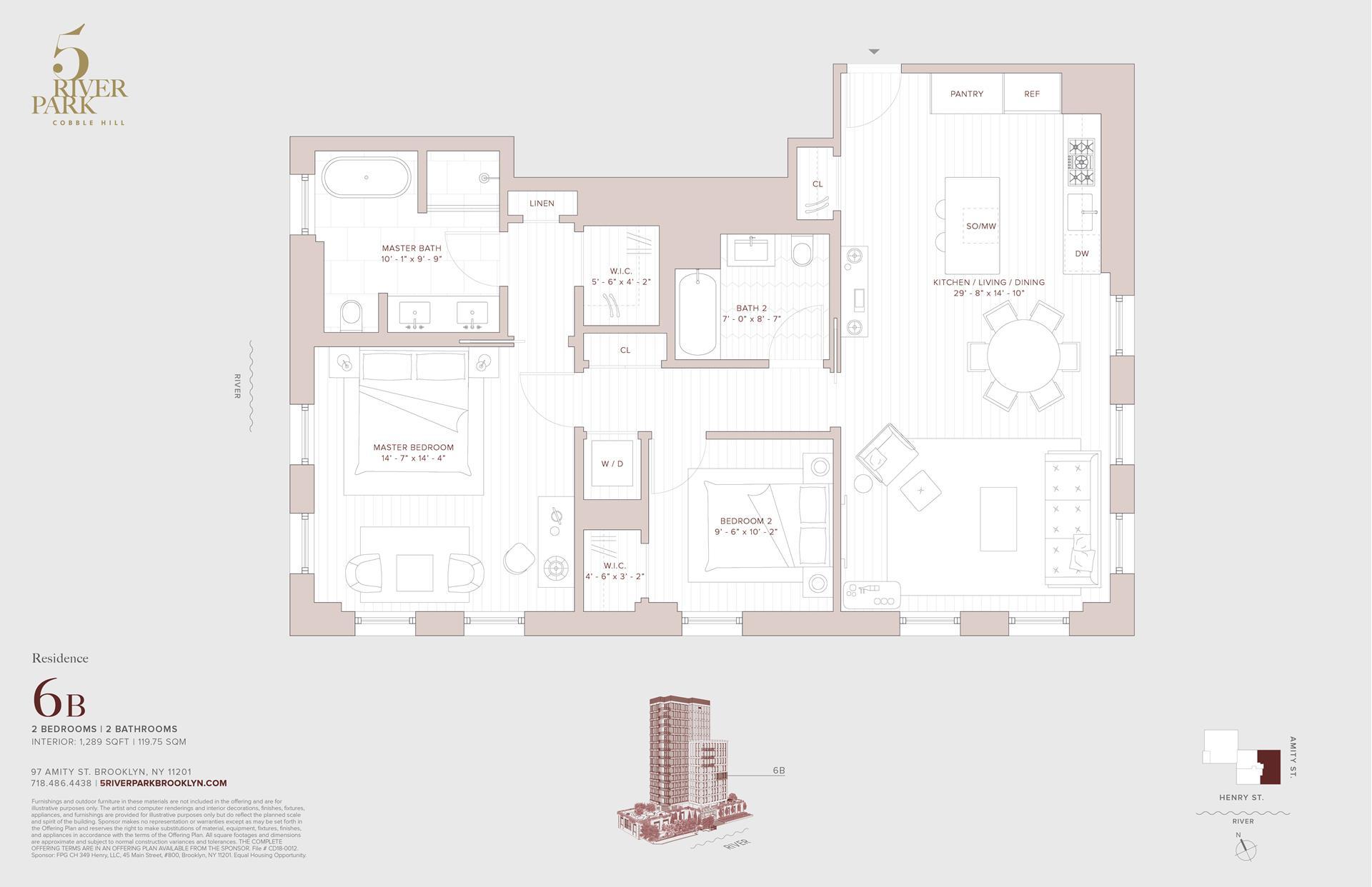 Floor plan of 5 River Park, 347 Henry Street, 6B - Cobble Hill, New York