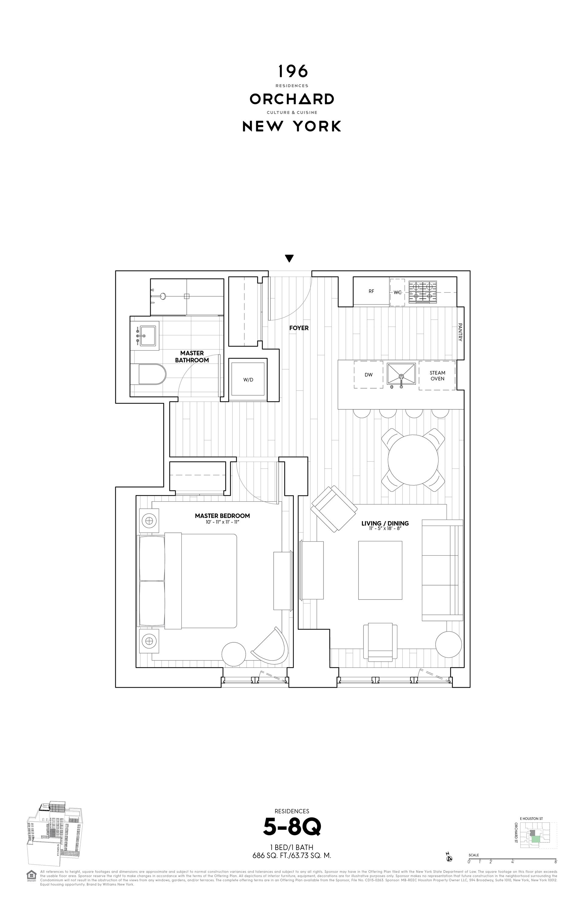 Floor plan of 196 Orchard Street, 8Q - Lower East Side, New York