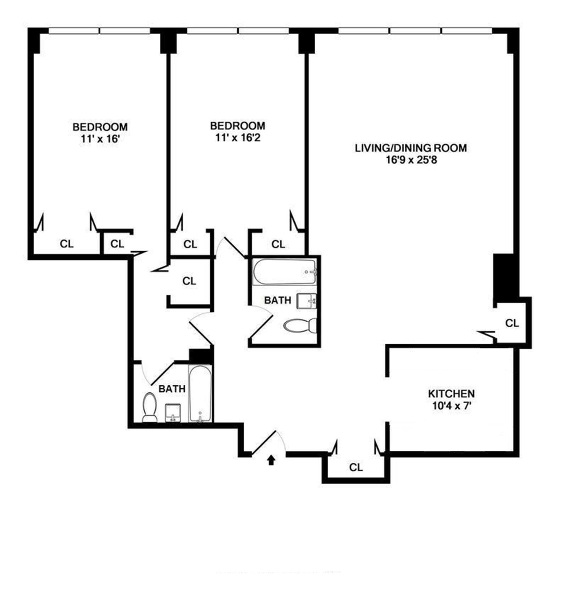 Floor plan of KIPS BAY TOWERS, 333 East 30th Street, 15C - Kips Bay, New York