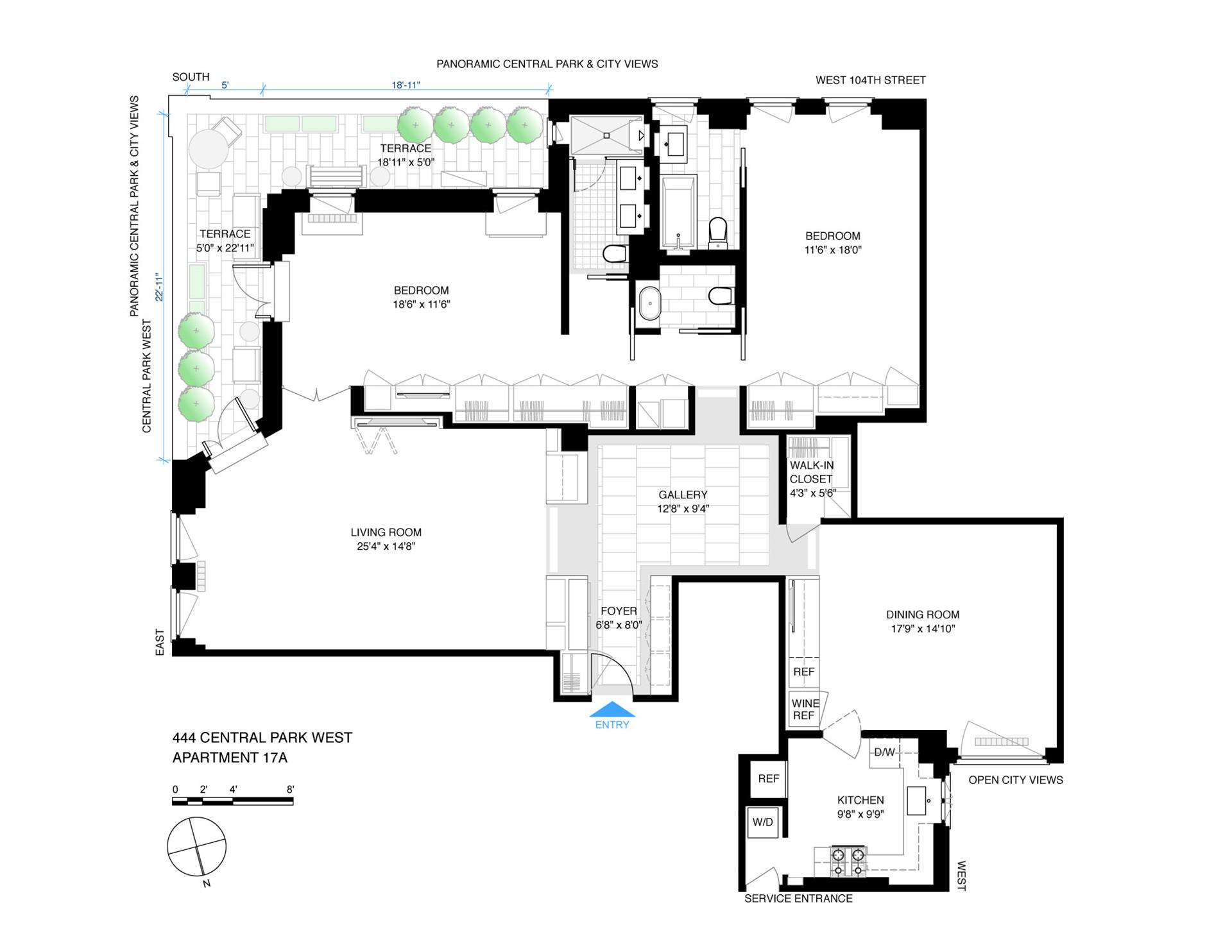 Floor plan of 444 Central Park West, 17A - Upper West Side, New York