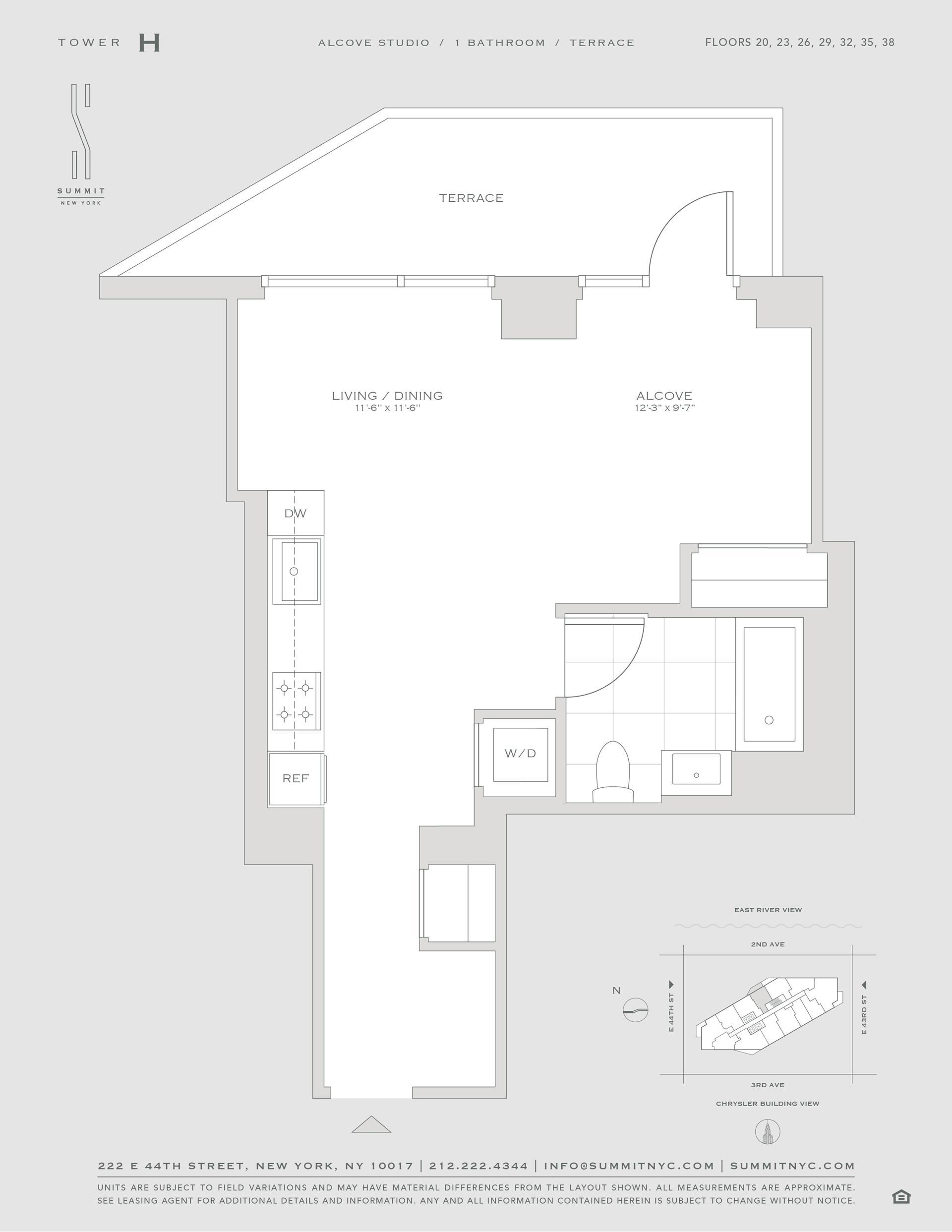 Floor plan of 222 East 44th Street, 38H - Midtown, New York