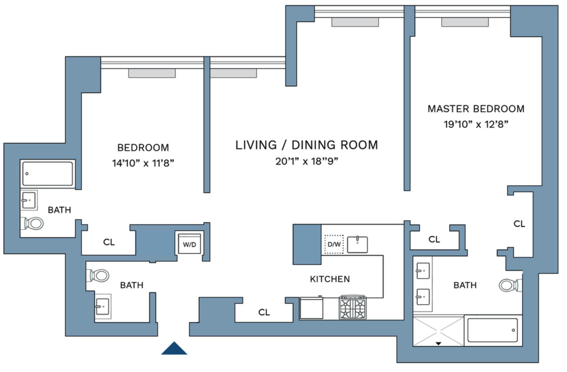 Floor plan of 322 West 57th Street, 49M - Midtown, New York