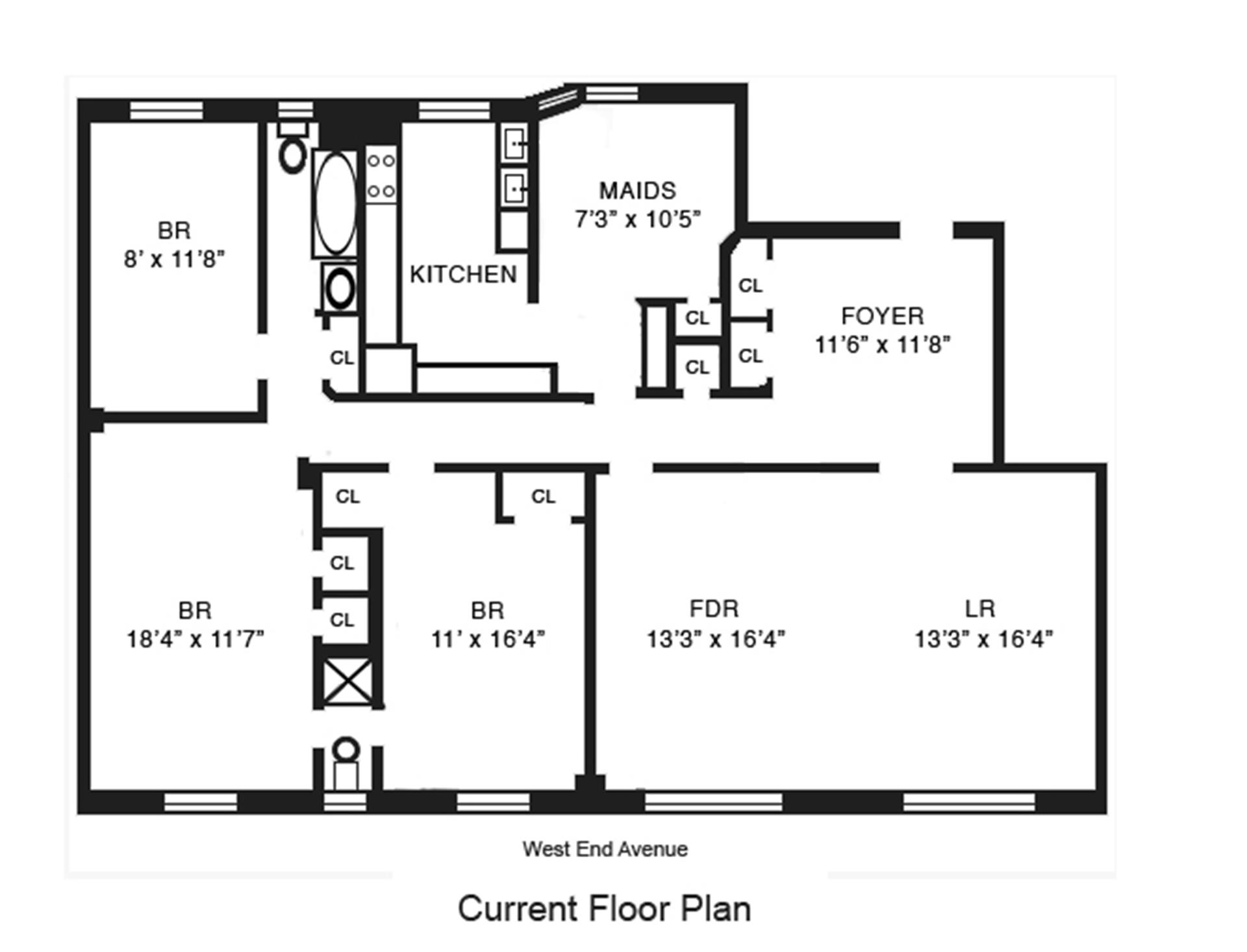 Floor plan of 490 West End Owners Corp., 490 West End Avenue, 4B - Upper West Side, New York
