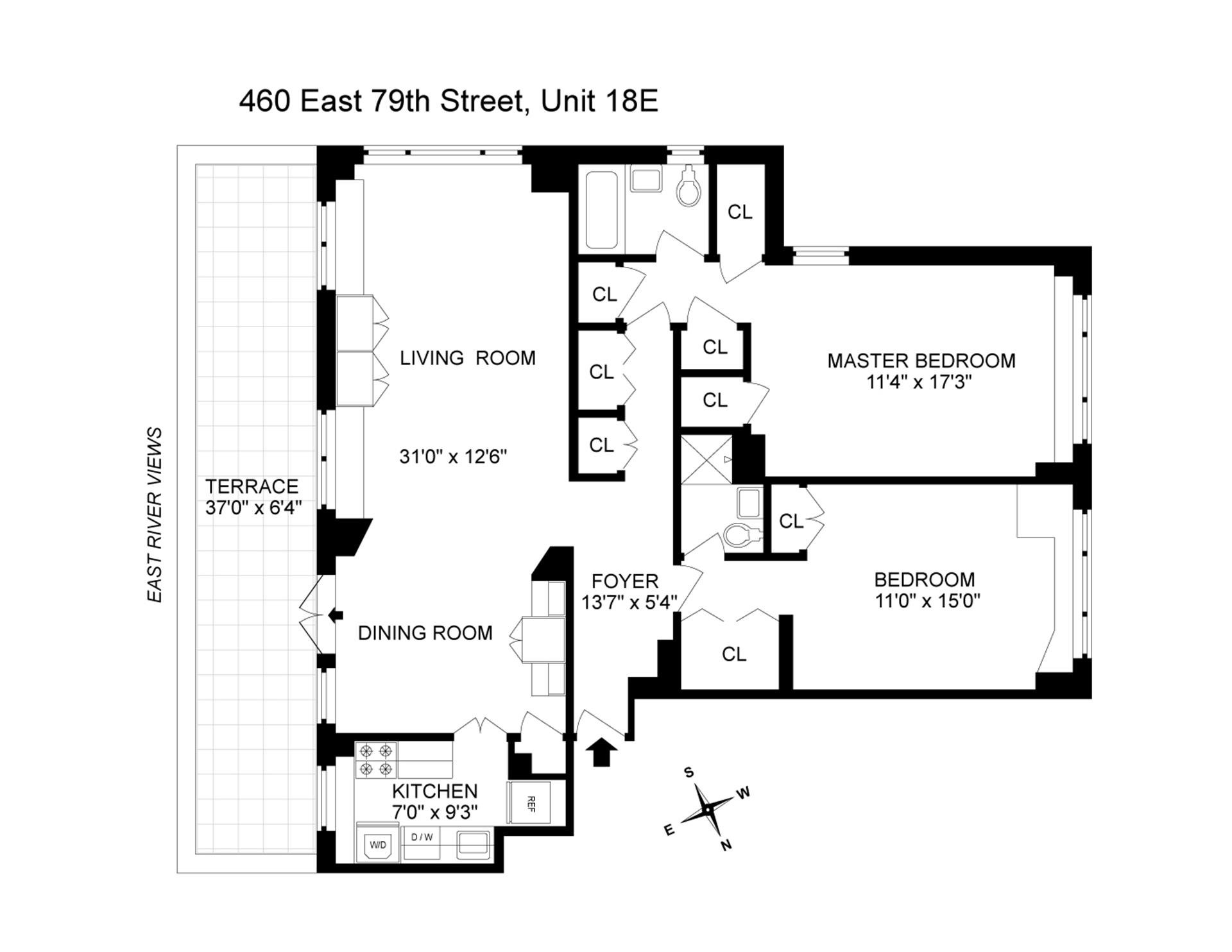 Floor plan of GREGORY TOWERS, 460 East 79th Street, 18E - Upper East Side, New York
